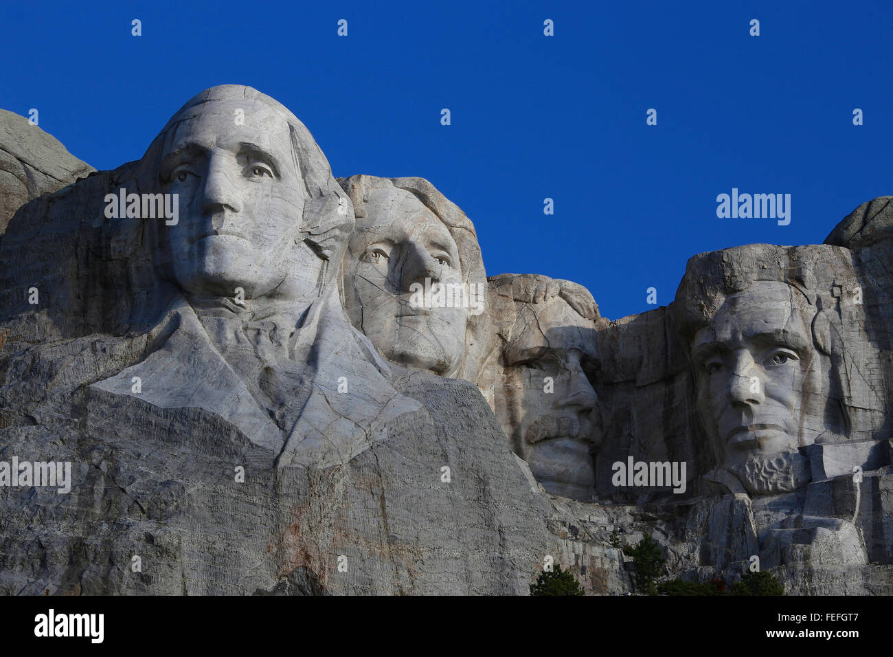 Mount Rushmore National Memorial clear blue sky - Stock Image
