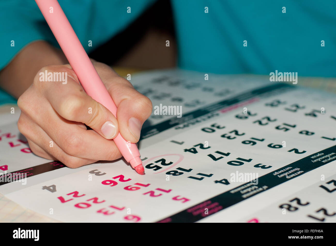 Close-up photo of calendar with a datum circled by kid's hand with a pink marker, concept of time management - Stock Image