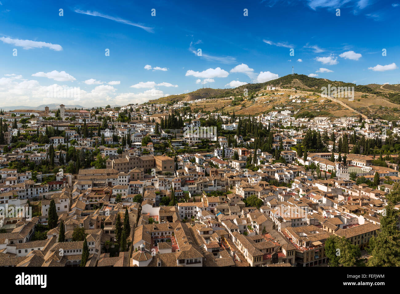 City of Granada at a summer day, Spain Stock Photo