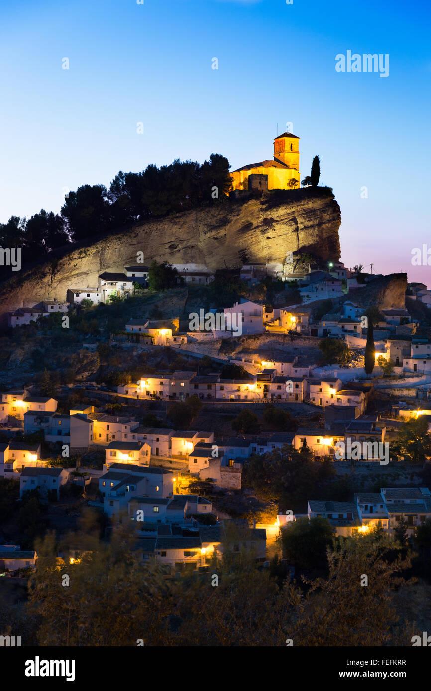 Montefrio at dusk, Province of Granada, Spain Stock Photo