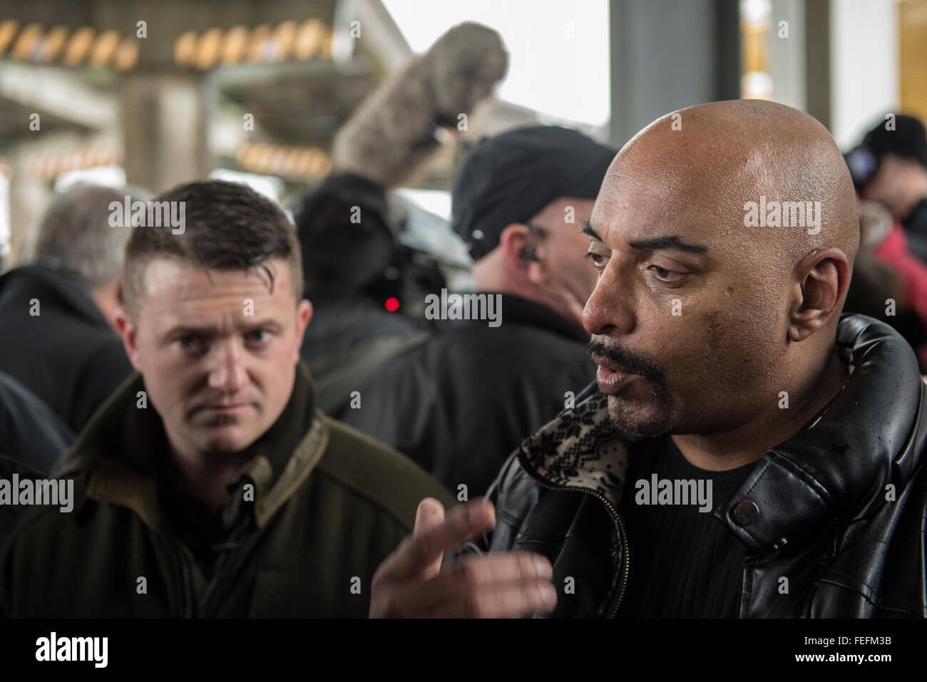Birmingham, UK. 6th February 2016. Supporters of Pegida UK hold a rally in Birmingham, United Kingdom. A large Police - Stock Image