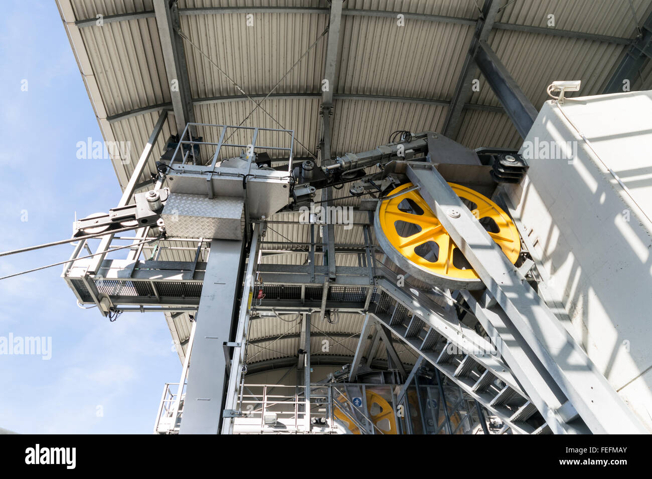 Detail of the mechanisms that allow the operation of a cableway respecting the safety rules. - Stock Image