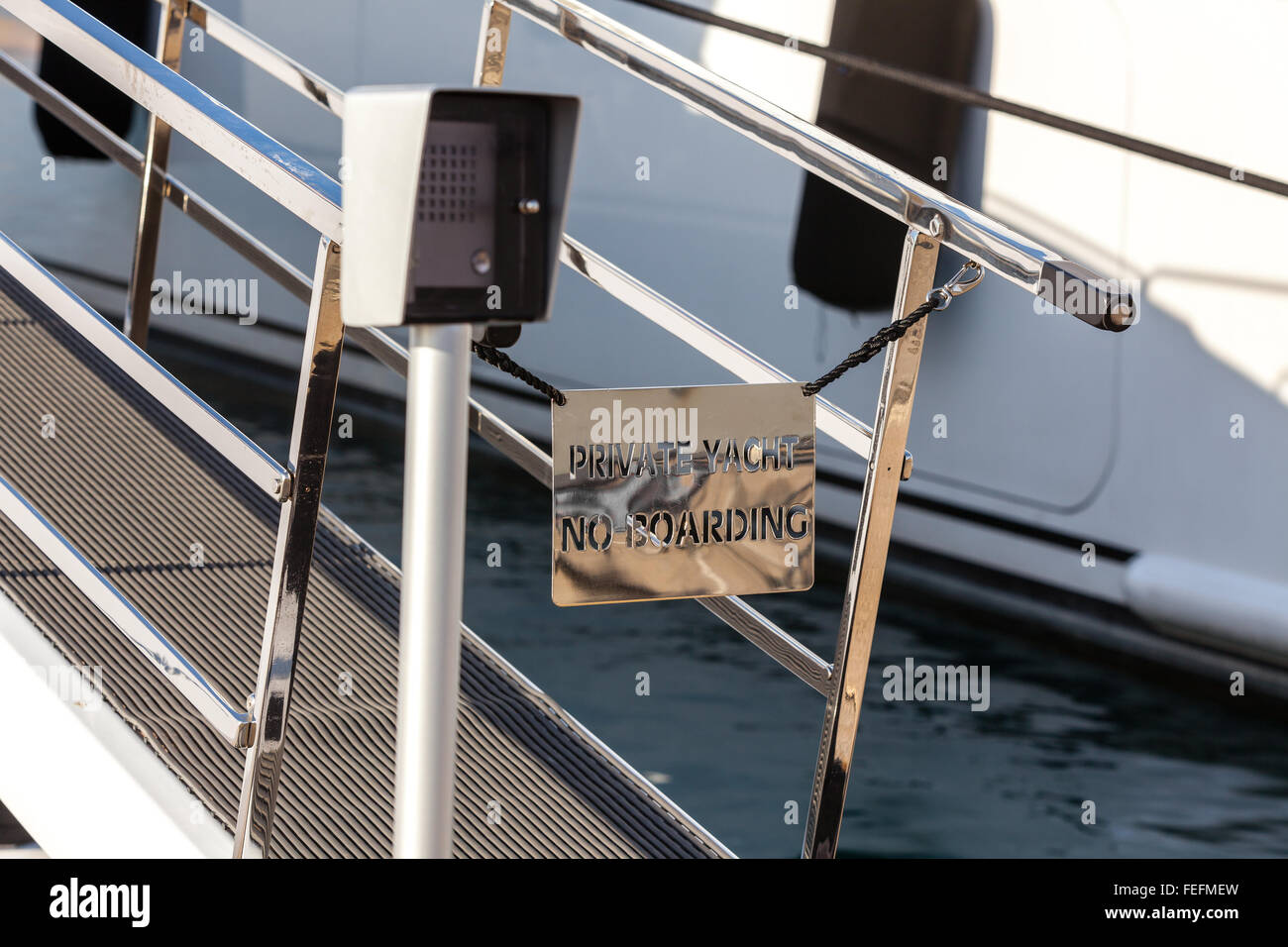 bridge of a private luxury ship with a no entry private yacht sign. no boarding - Stock Image