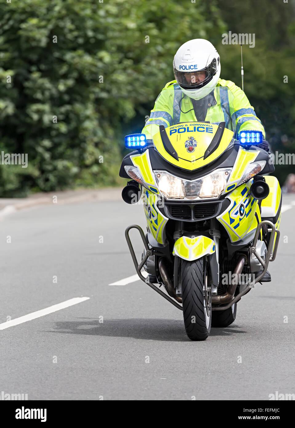 Police motorbike at the Velothon cycle race, Llanfoist, Wales, UK - Stock Image