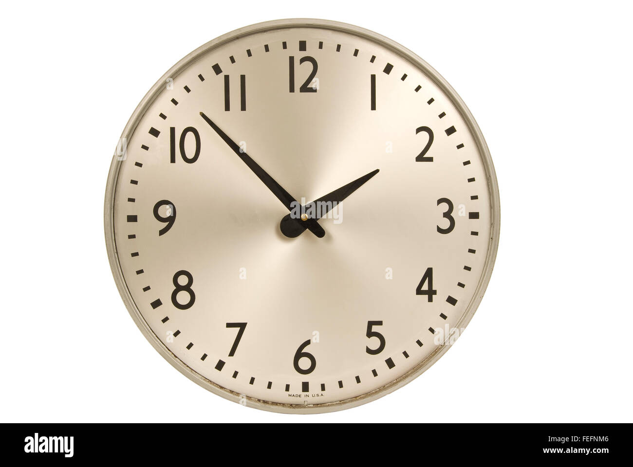 Old Industrial Wall Clock - Stock Image