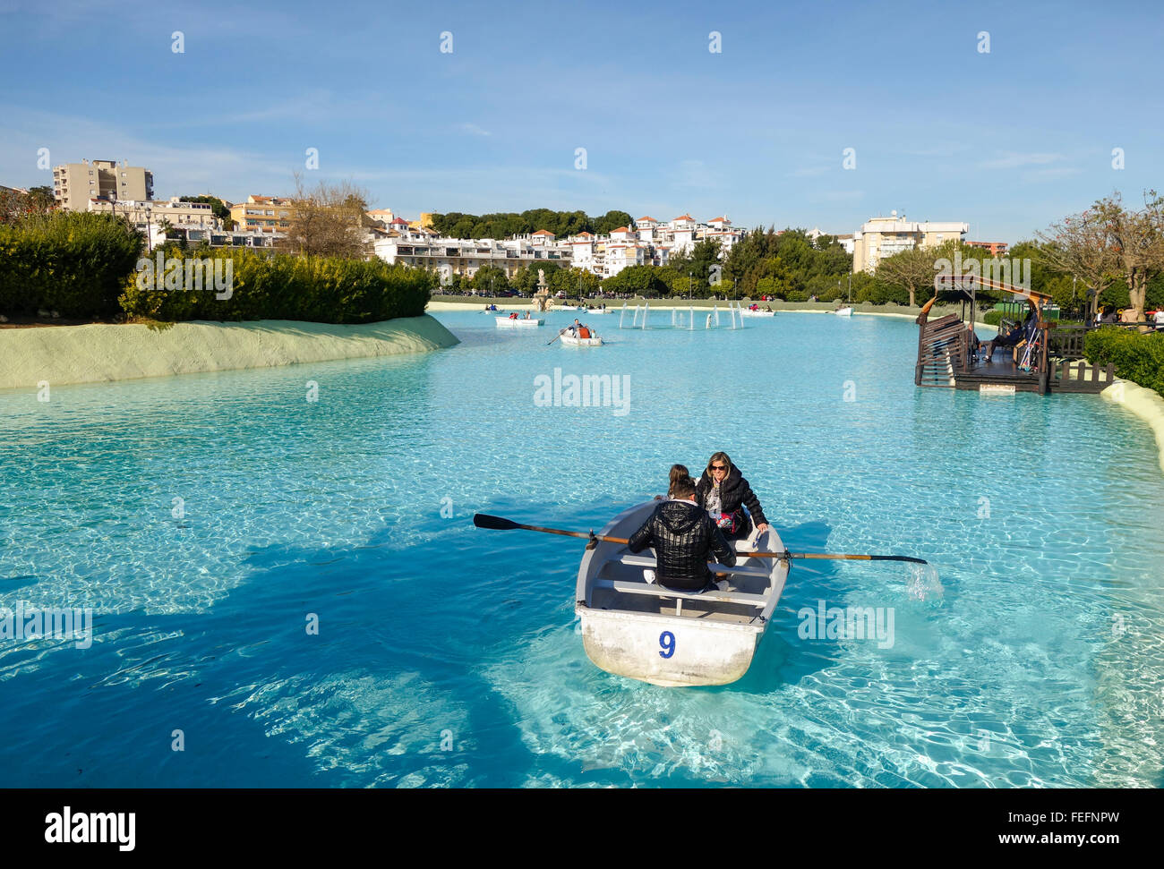 Boating pond, Artificial lake in La bateria atraction public Park, Torremolinos. Costa del Sol, Spain - Stock Image