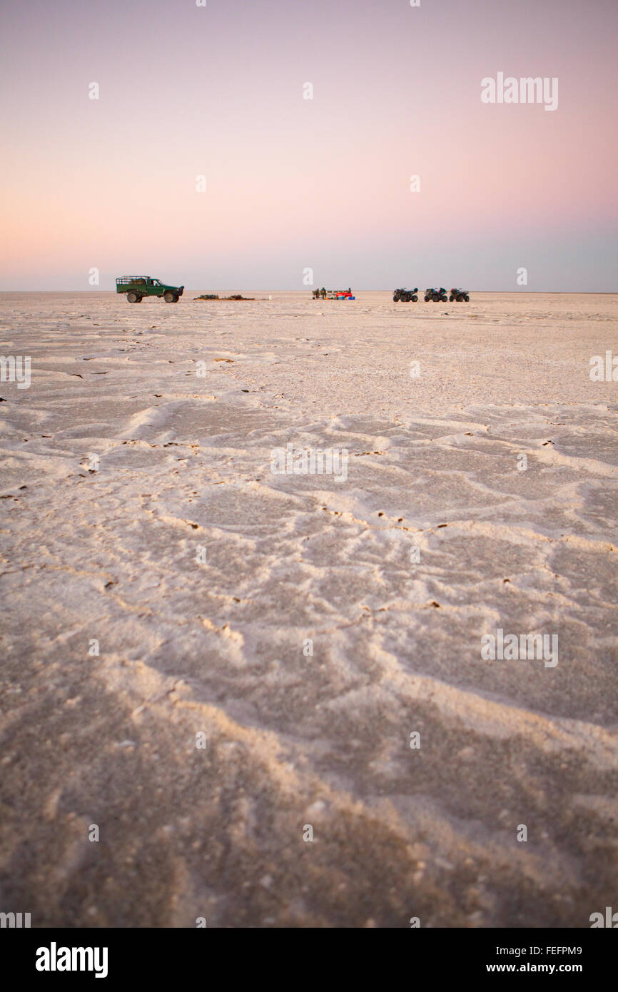 Campsite on Sua Pan, Botswana. - Stock Image