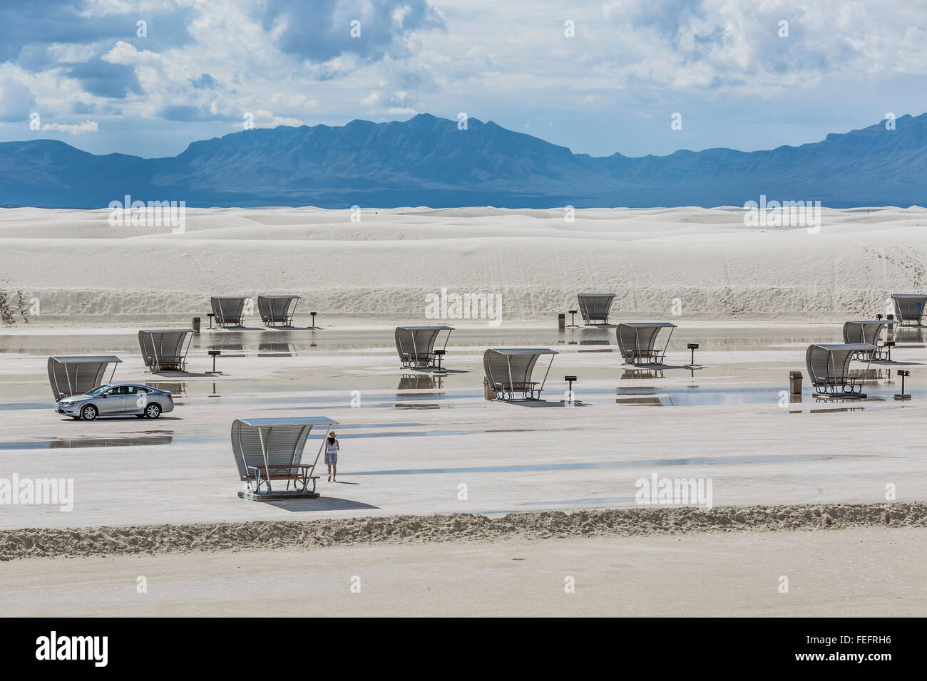 Space age picnic shelters in White Sands National Monument in the Tularosa Basin, New Mexico, USA - Stock Image