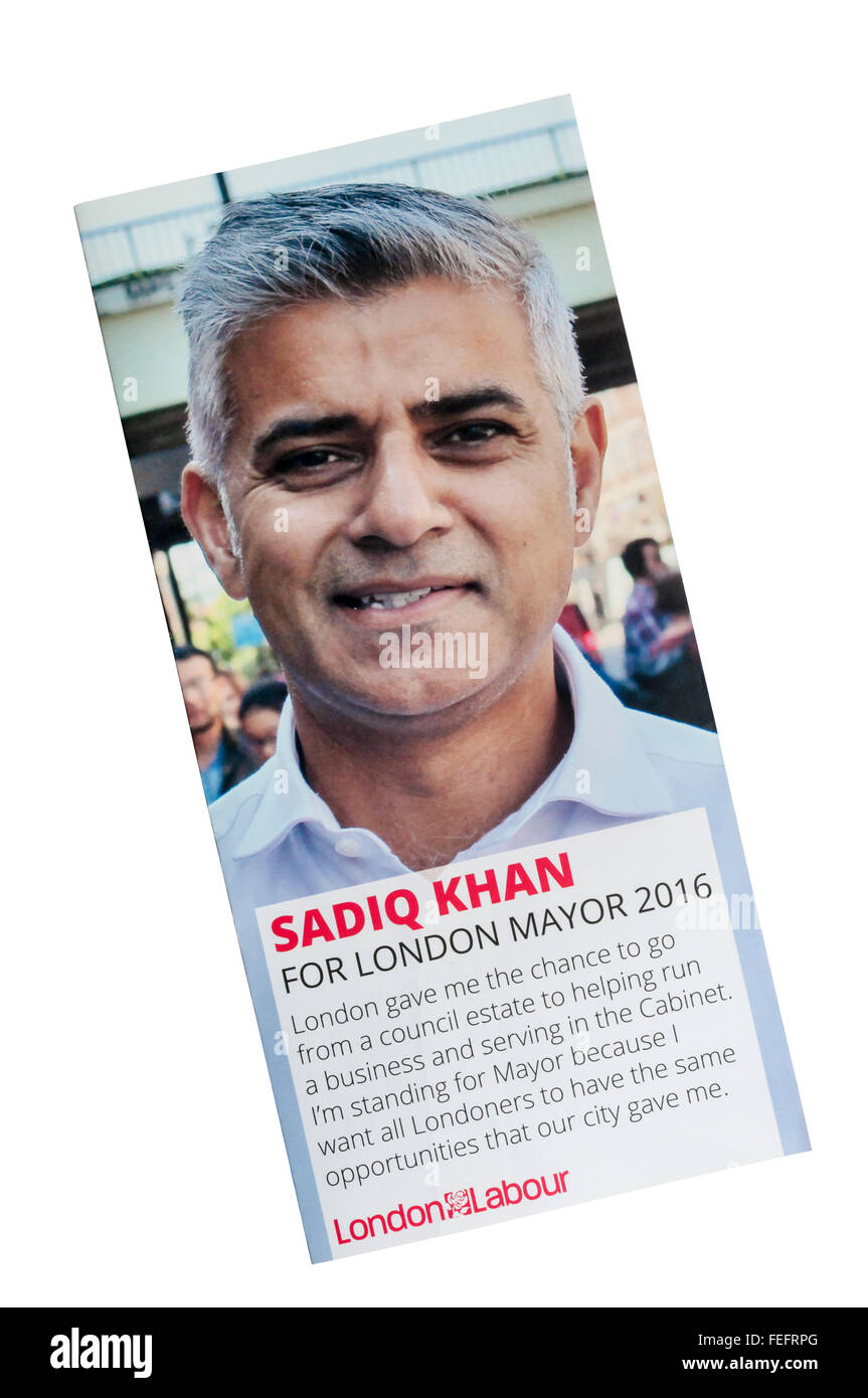 A leaflet supporting Sadiq Khan, Labour Party candidate for Mayor of London in 2016. - Stock Image