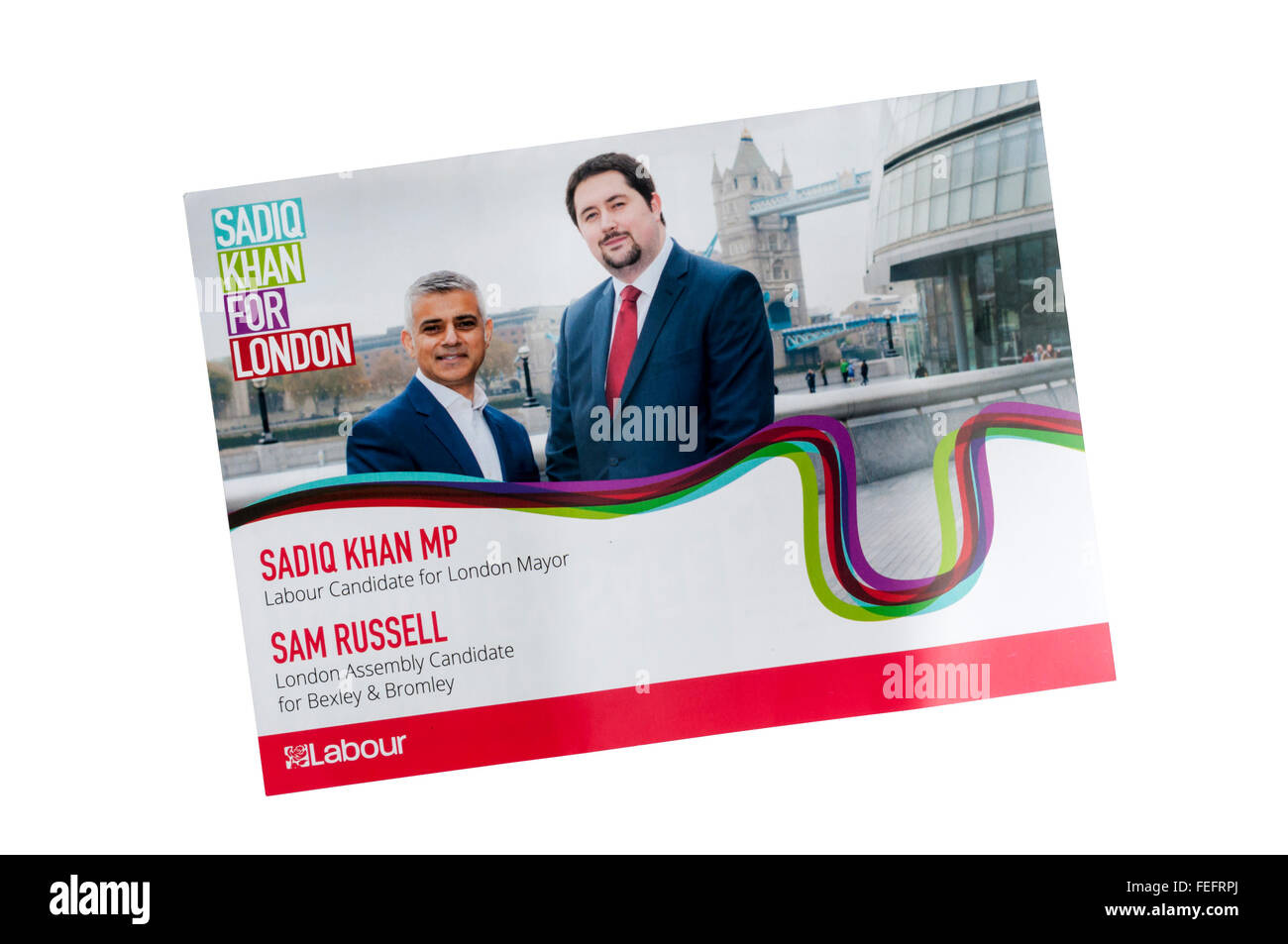 Labour Party leaflet for London Assembly election in 2016, promoting Sadiq Khan for Mayor and Sam Russell as an - Stock Image