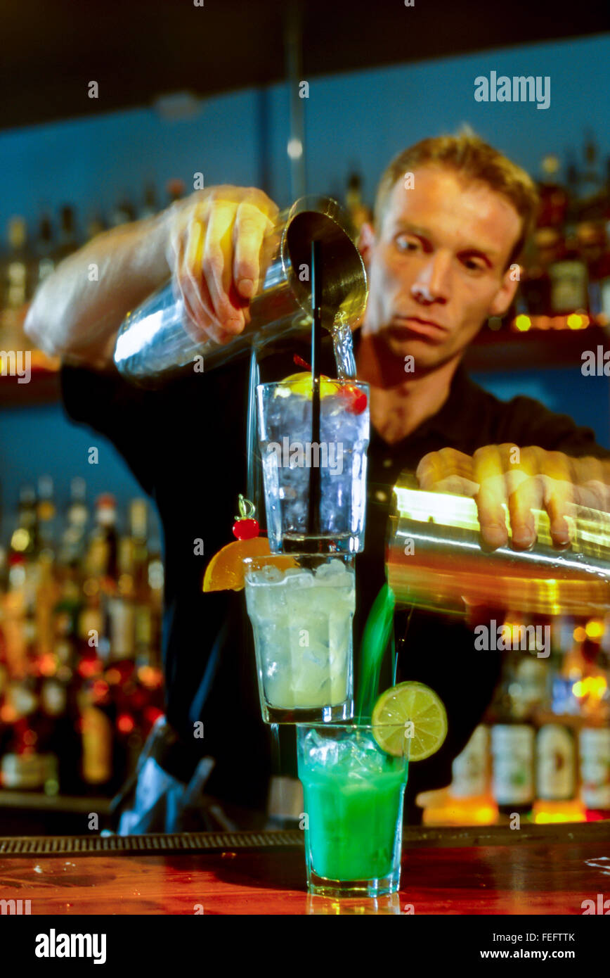 Paris, France, Bartender Mixing Cocktail Drinks, in French Bar Stock ...