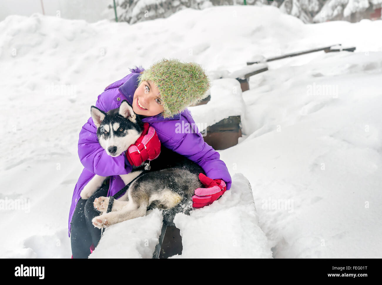 Happy little girl holding her puppy dog husky on the snow - Stock Image