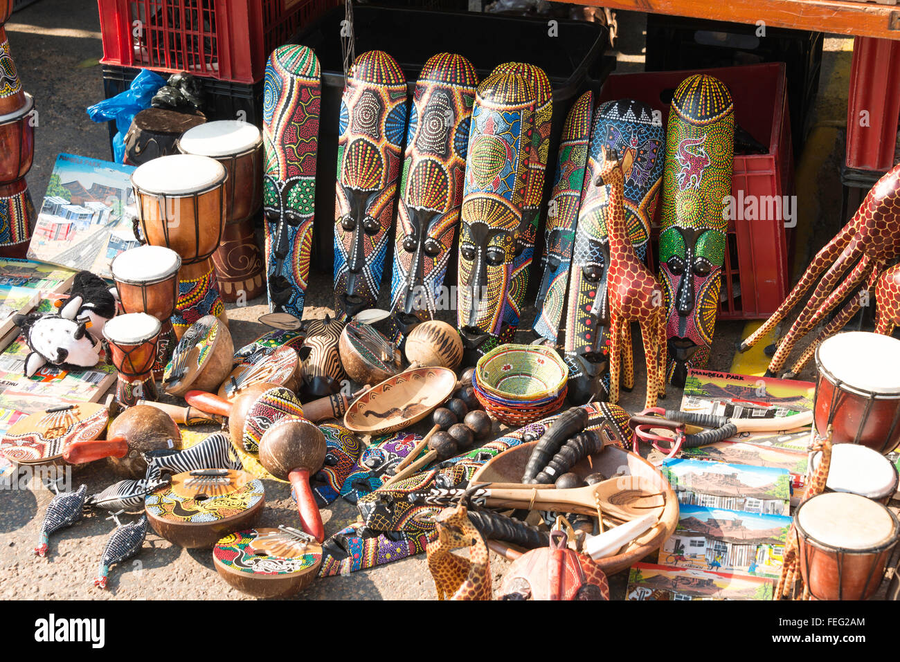 African handicraft stall, Simon's Town, Cape Peninsula, City of Cape Town Municipality, Western Cape Province, - Stock Image