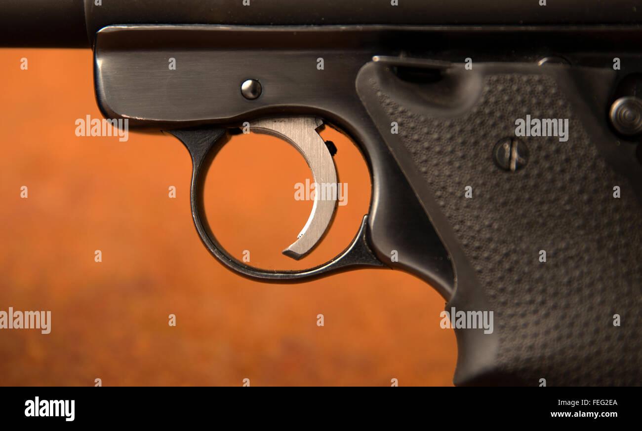 Firearm trigger (handgun). - Stock Image