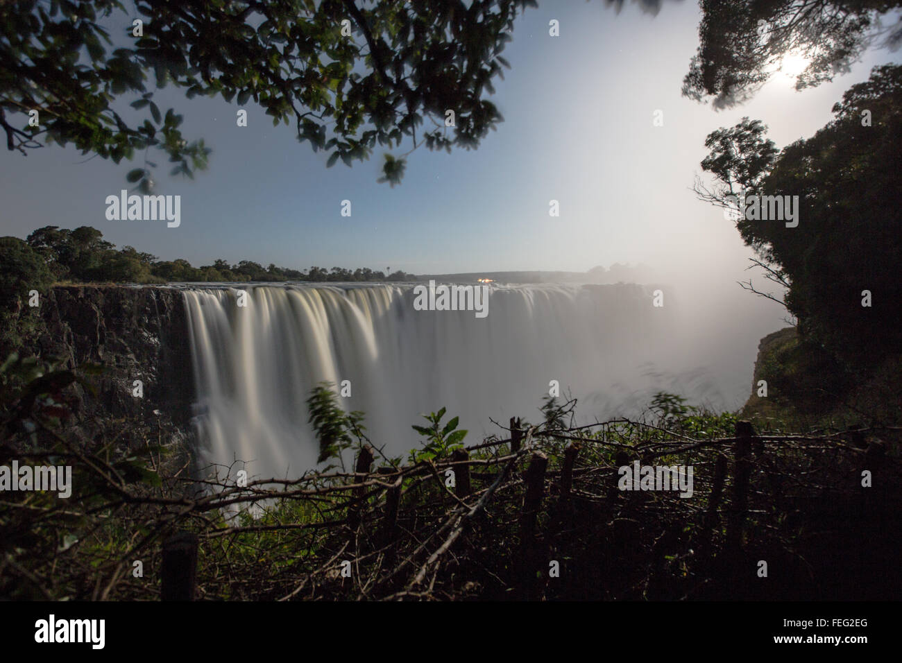 Lunar rainbow at Victoria falls - Stock Image