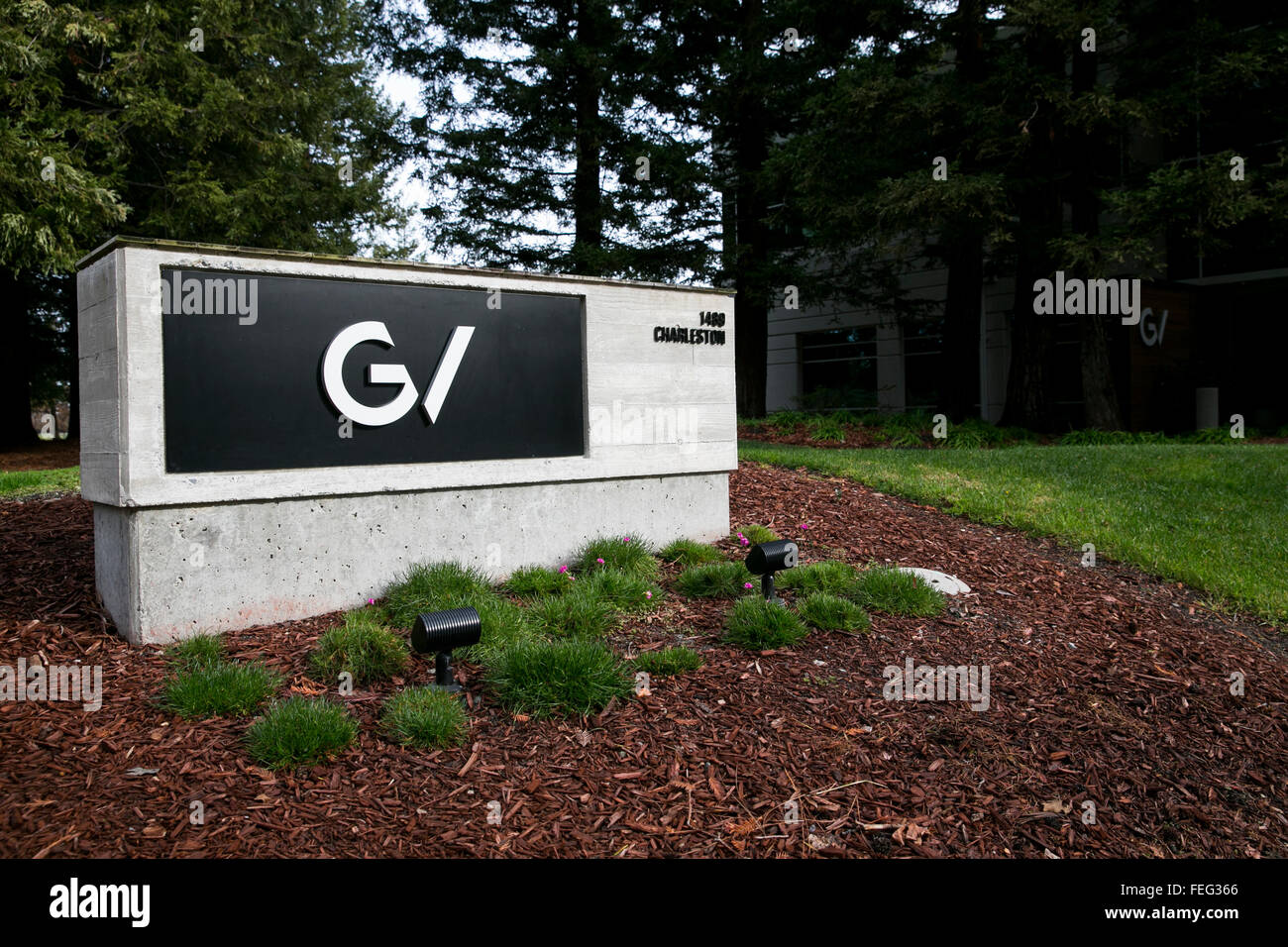 A logo sign outside of the headquarters of GV, also known as Google Ventures in Mountain View, California on January - Stock Image