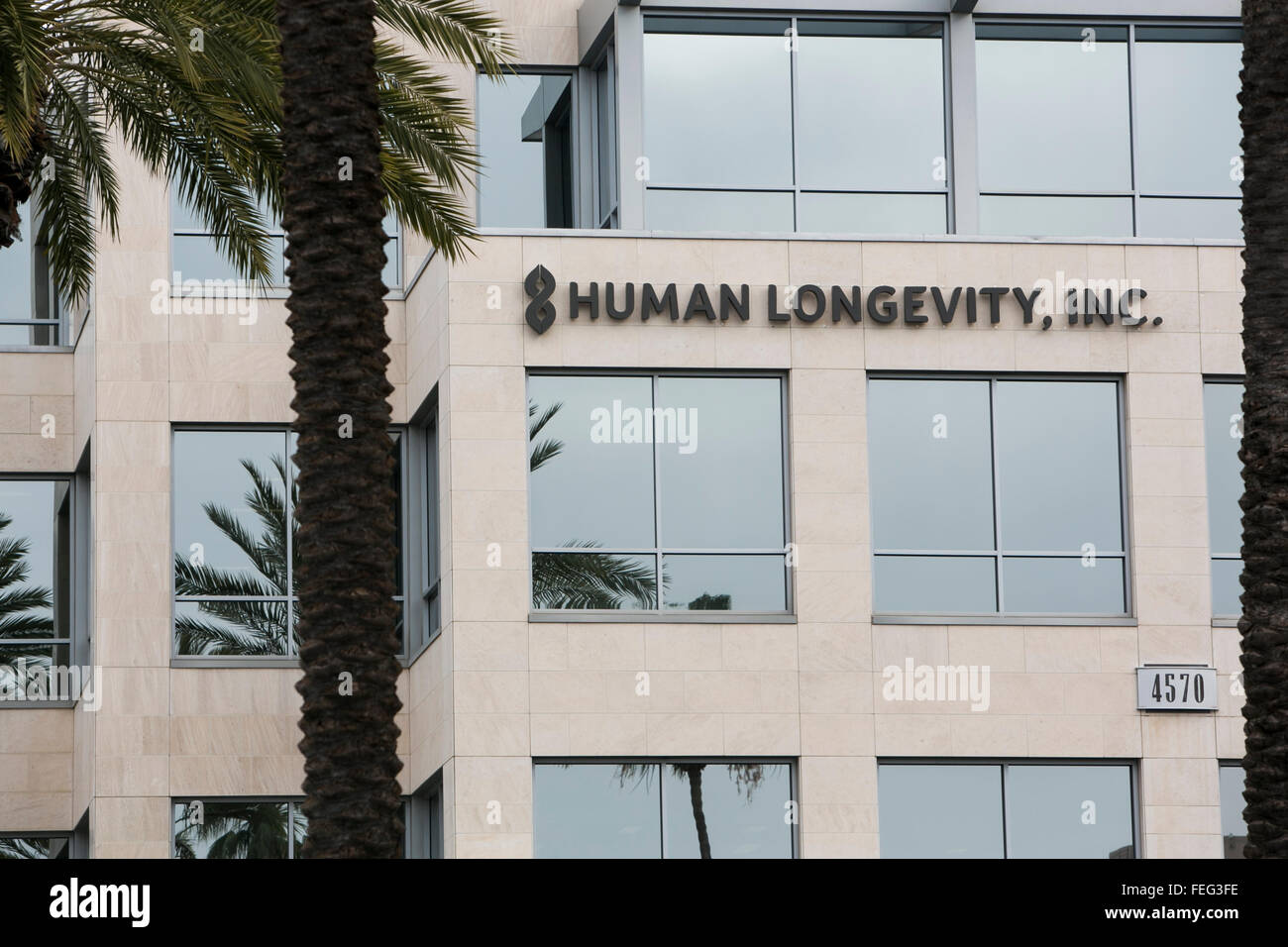 A logo sign outside of the headquarters of Human Longevity, Inc., in San Diego, California on January 30, 2016. - Stock Image