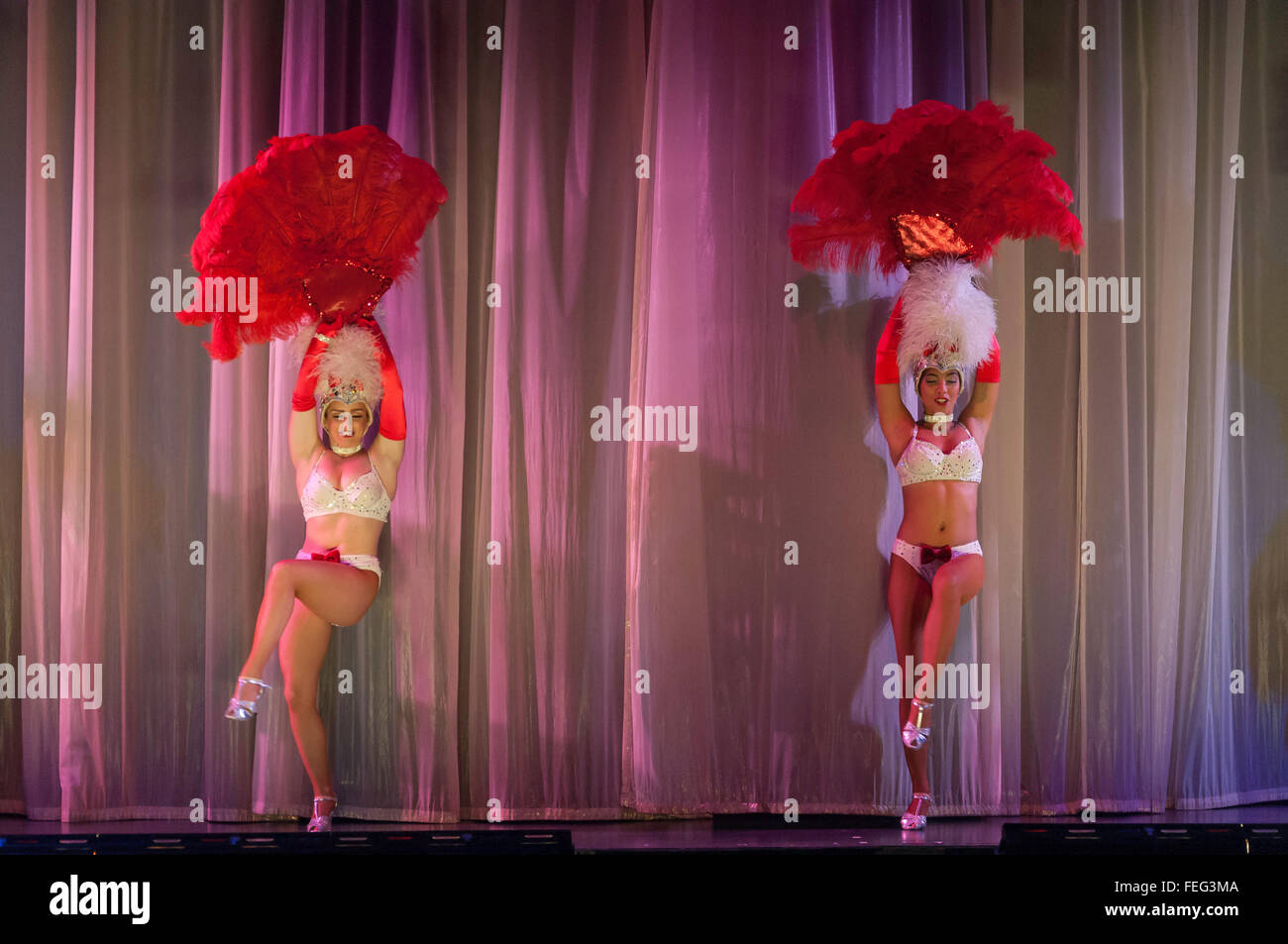 Showtime in Pacifica Theatre, Royal Caribbean's Brilliance of the Seas cruise ship, North Sea, Europe - Stock Image