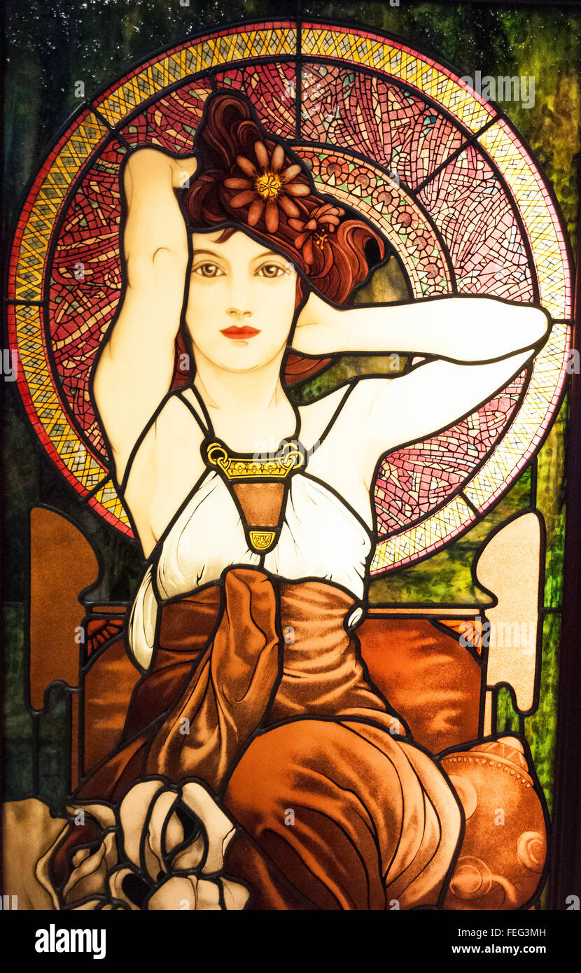 Stained glass window in Royal Caribbean's Brilliance of the Seas cruise ship, North Sea, Europe - Stock Image
