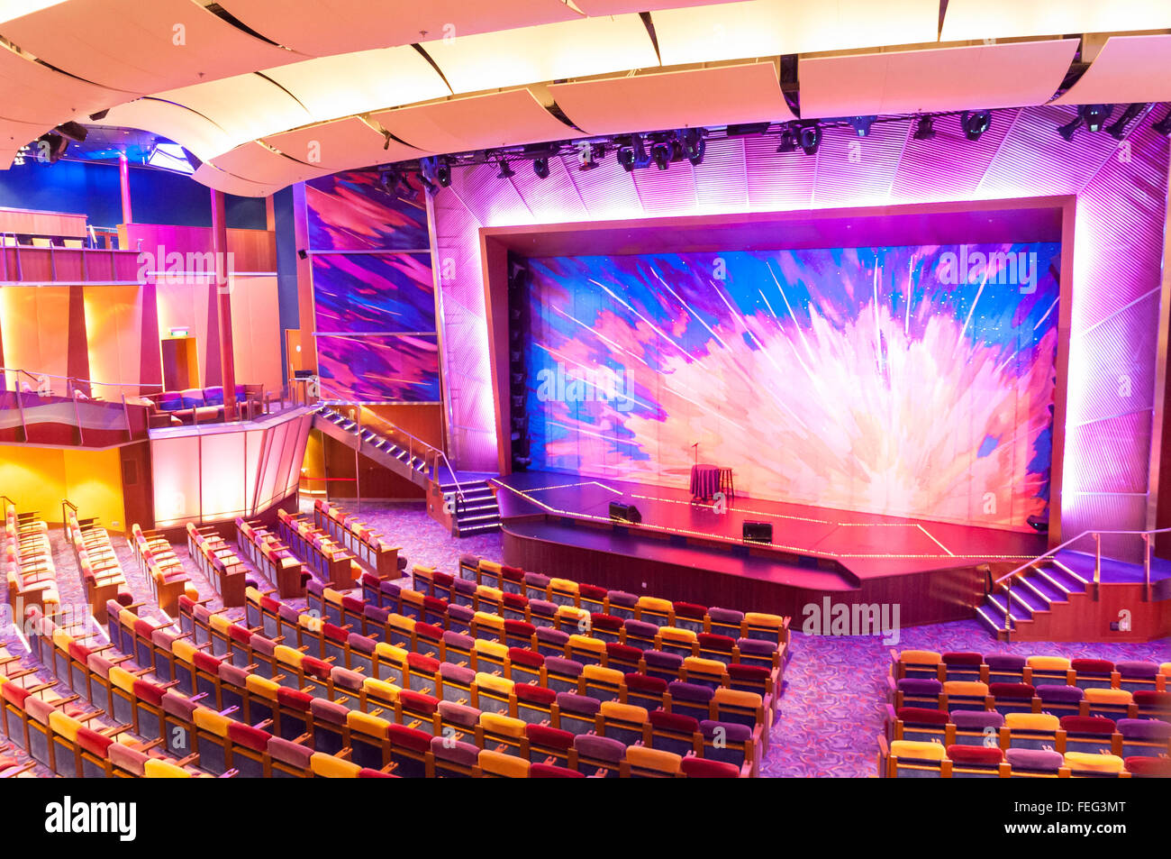 Interior of The Pacifica Theatre, Royal Caribbean's Brilliance of the Seas cruise ship, North Sea, Europe - Stock Image