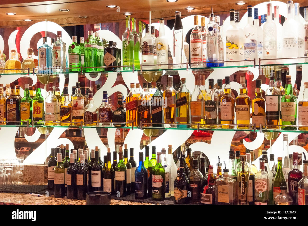 Rows of spirits and wines in Atrium Bar on Royal Caribbean's 'Brilliance of the Seas' cruise ship, North - Stock Image
