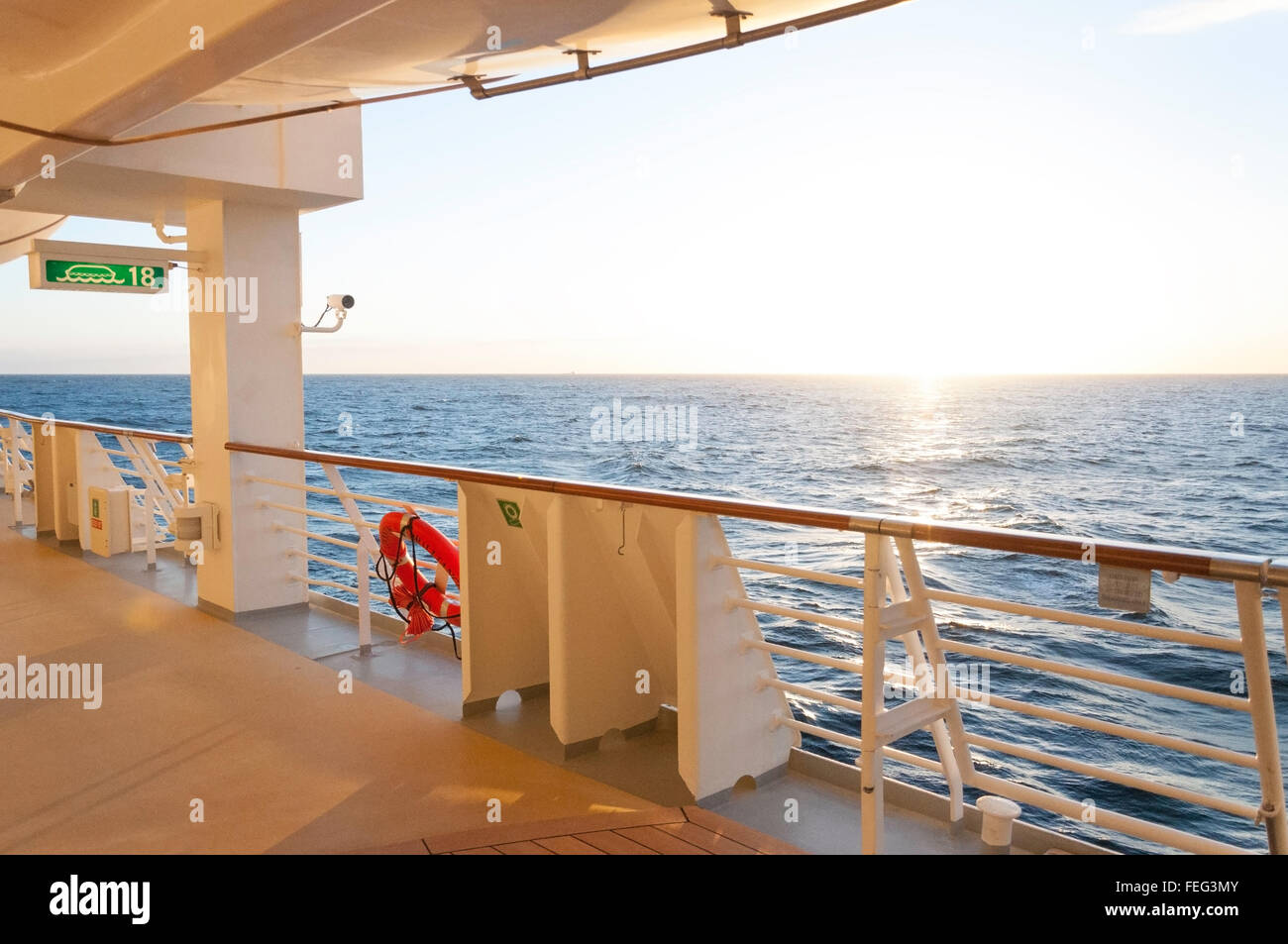 Deck at sunset, Royal Caribbean's 'Brilliance of the Seas' cruise ship, North Sea, Northern Europe - Stock Image