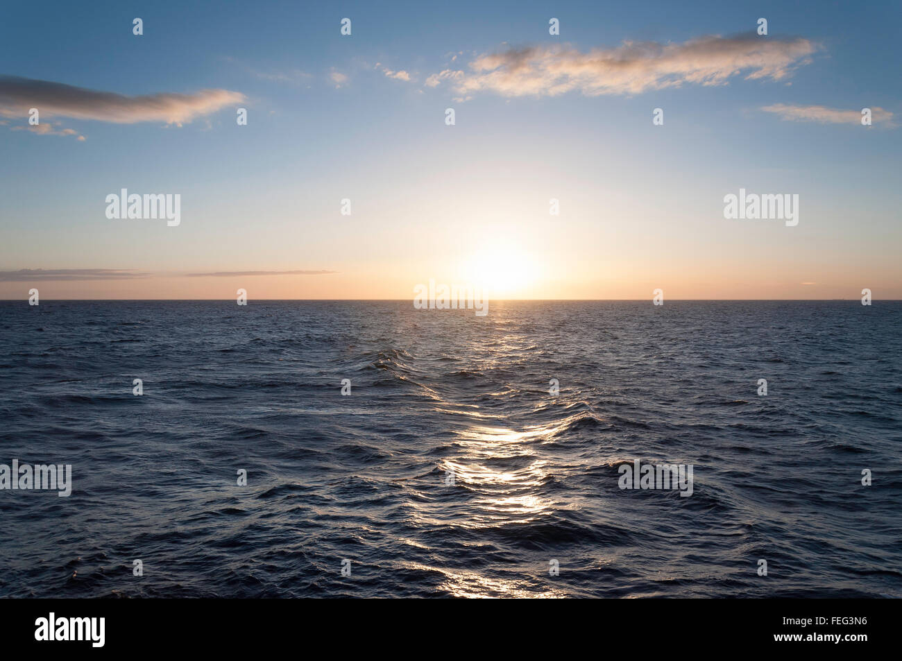 View of sea at sunset from deck of Royal Caribbean's 'Brilliance of the Seas' cruise ship, North Sea, - Stock Image