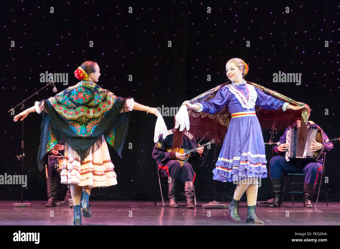 Russian folk dancers performing in The Pacifica Theatre, Royal Caribbean's Brilliance of the Seas cruise ship, North Stock Photo