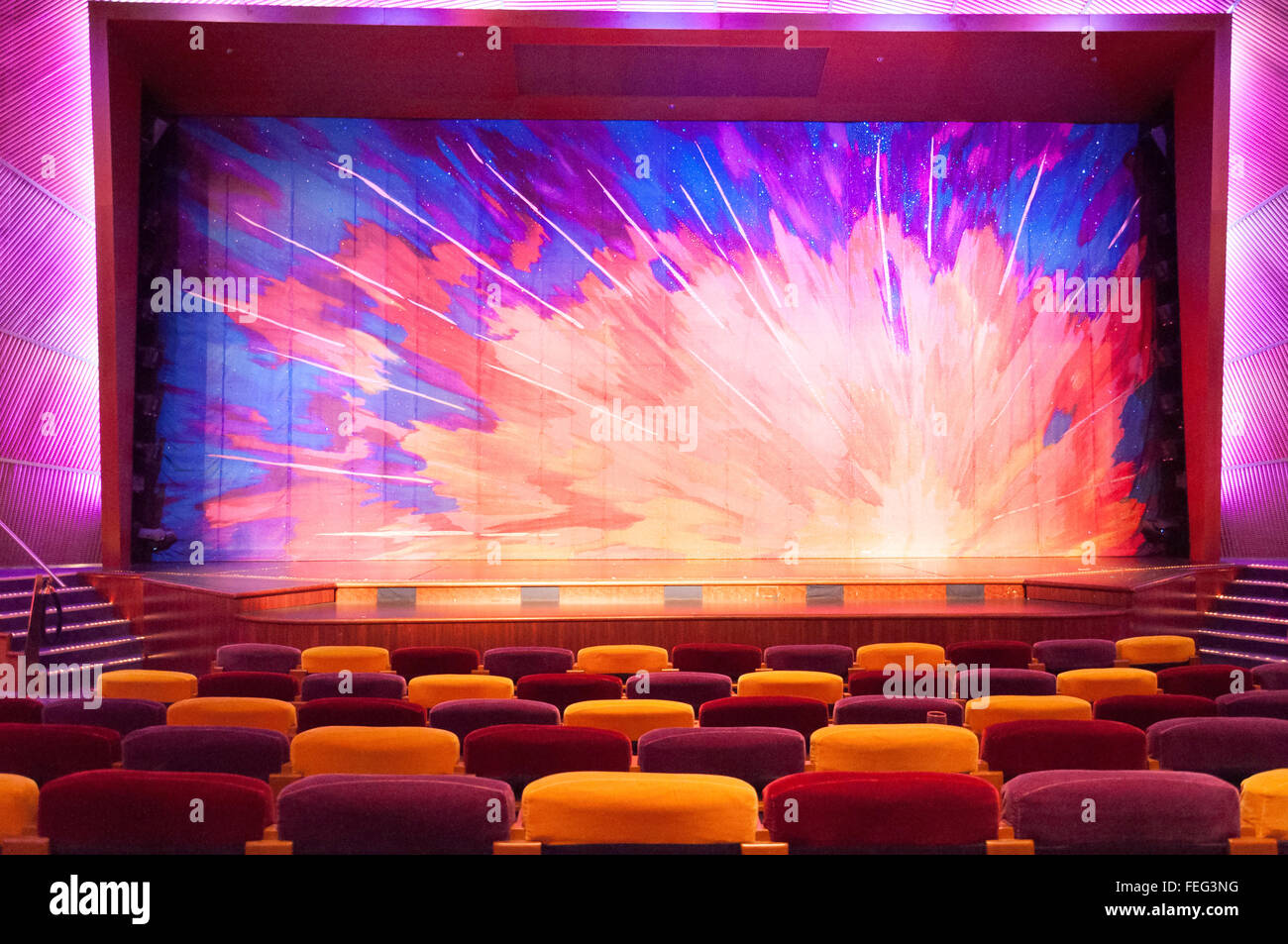 Stage and seats in The Pacifica Theatre, Royal Caribbean's Brilliance of the Seas cruise ship, North Sea, Europe - Stock Image