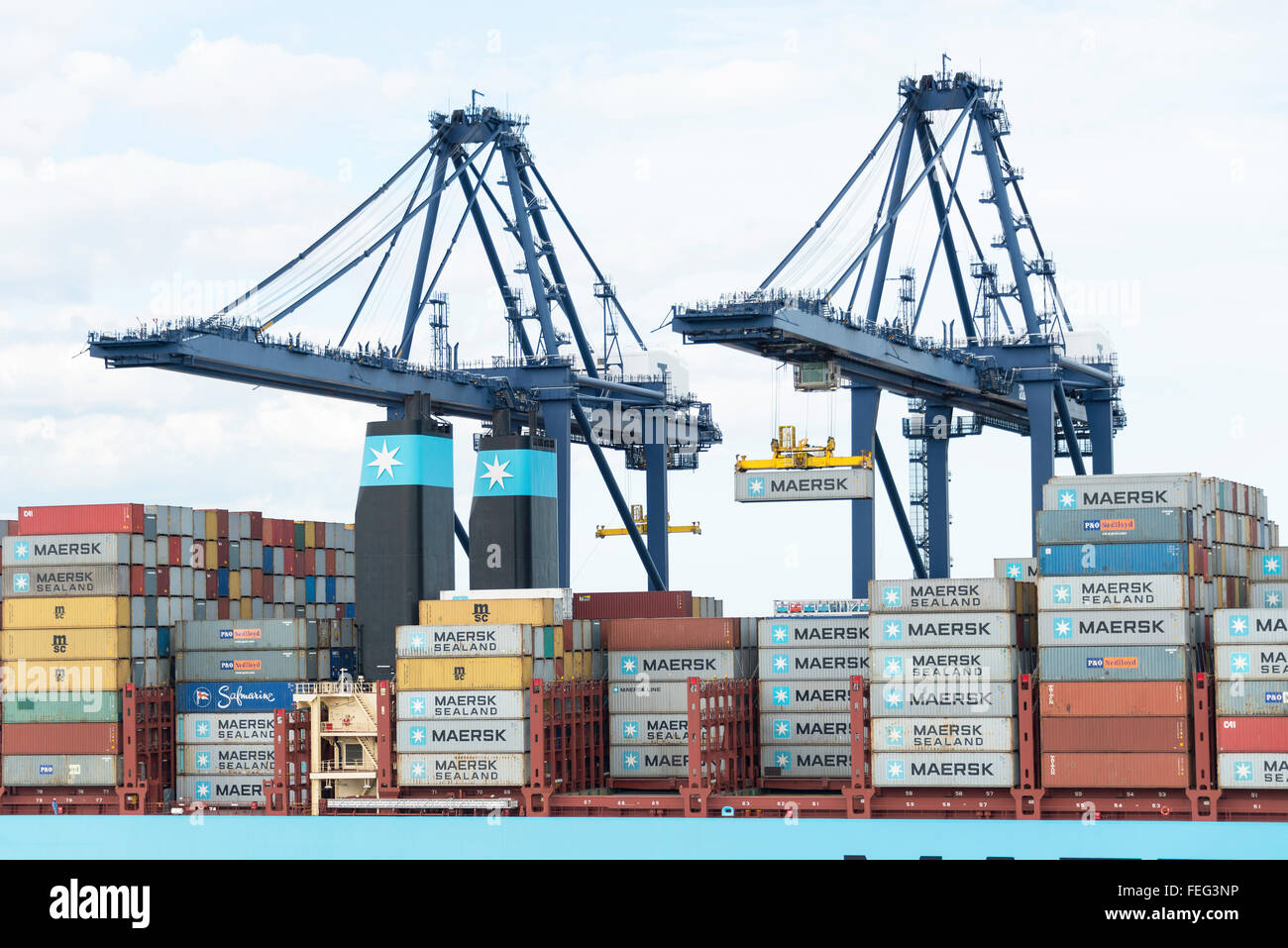 Maersk Line container ship at Container Port of Felixstowe, Essex, England, United Kingdom - Stock Image