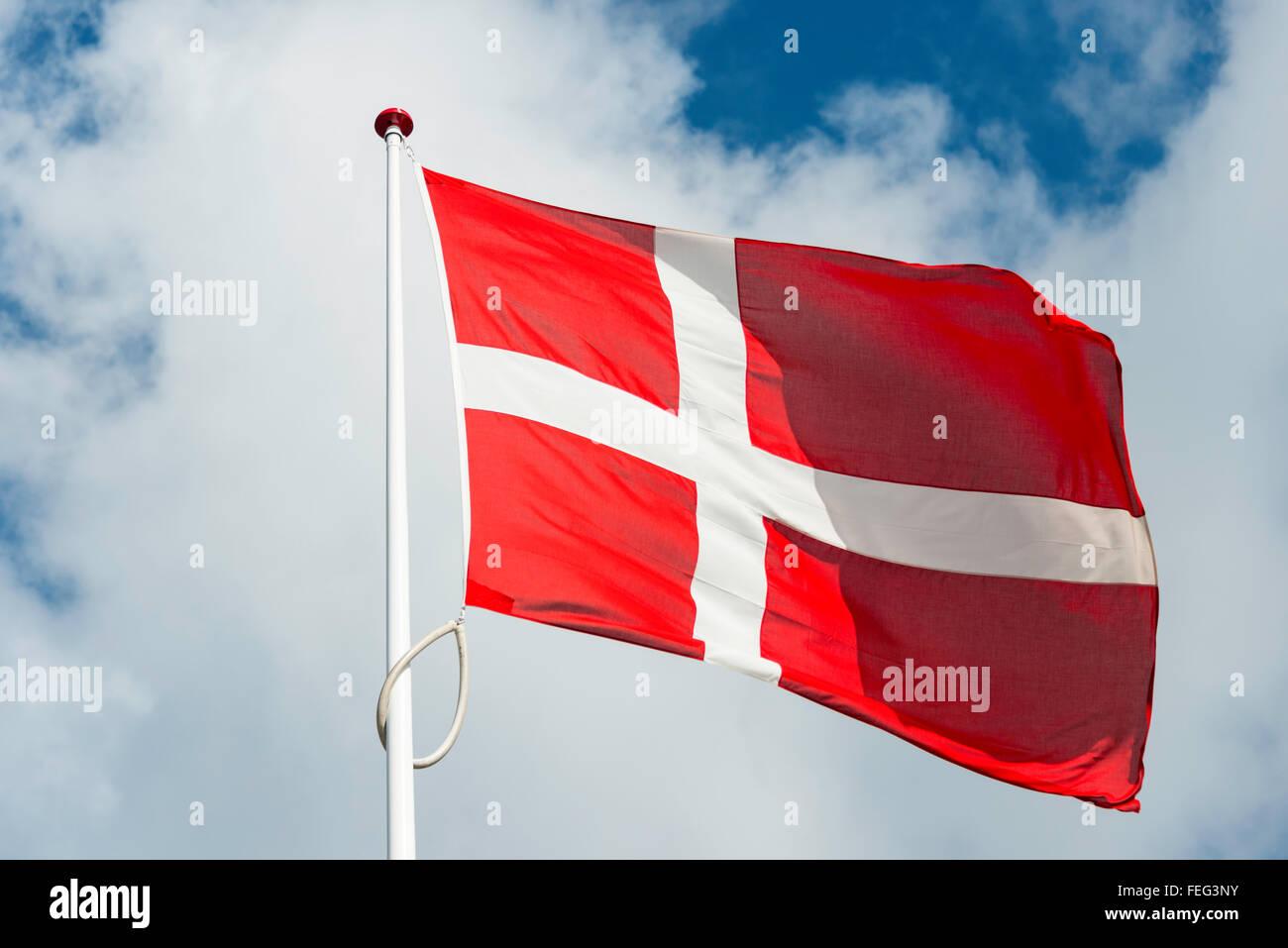 Danish national flag, Copenhagen, Hovedstaden Region, Denmark - Stock Image