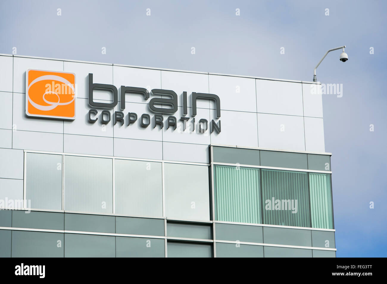 A logo sign outside of the headquarters of the Brain Corporation in San Diego, California on January 30, 2016. - Stock Image