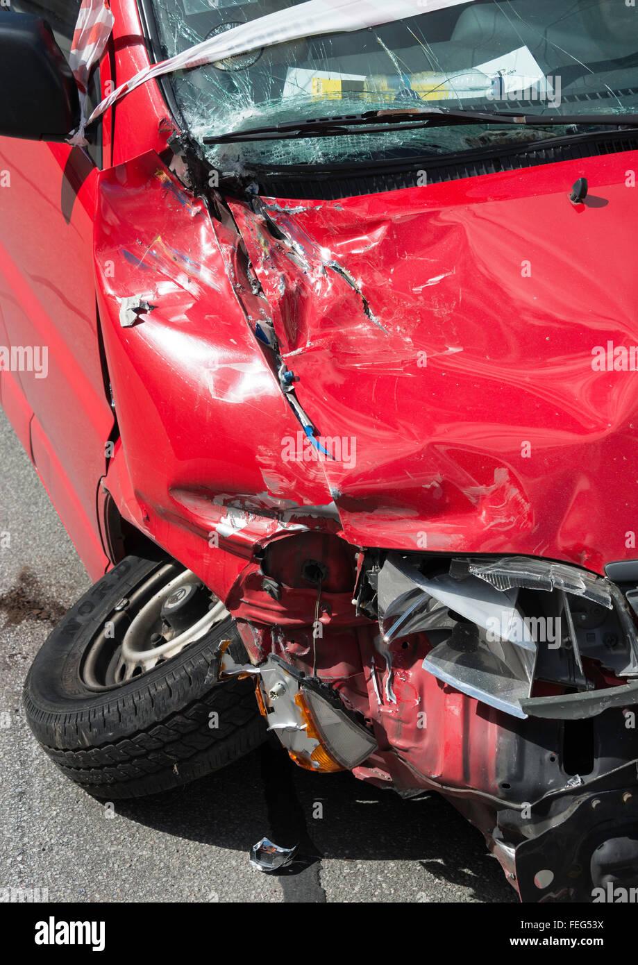 Car frontage damaged in road accident, Copenhagen, Hovedstaden Region, Kingdom of Denmark - Stock Image