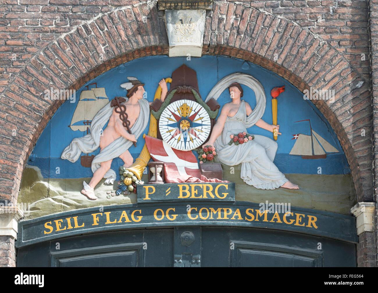 18th century marine plaster relief above doorway, Nyhavn, Copenhagen, Hovedstaden Region, Kingdom of Denmark - Stock Image