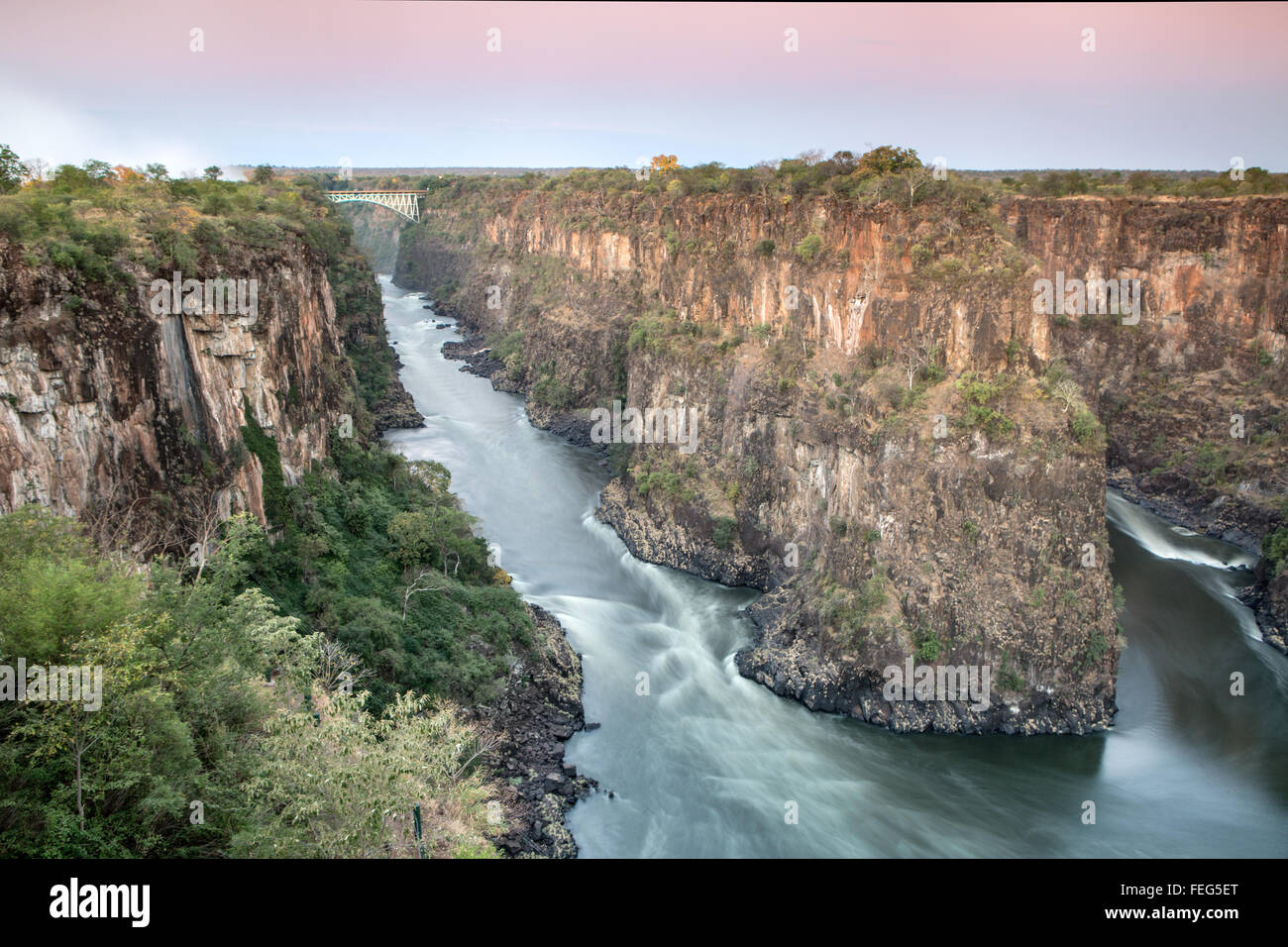 Batoka Gorge and Victoria falls bridge - Stock Image