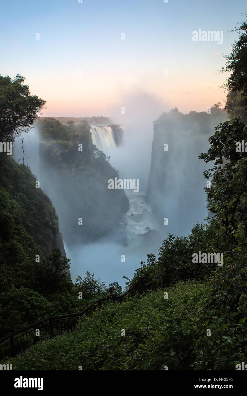 Victoria Falls at sunrise - Stock Image