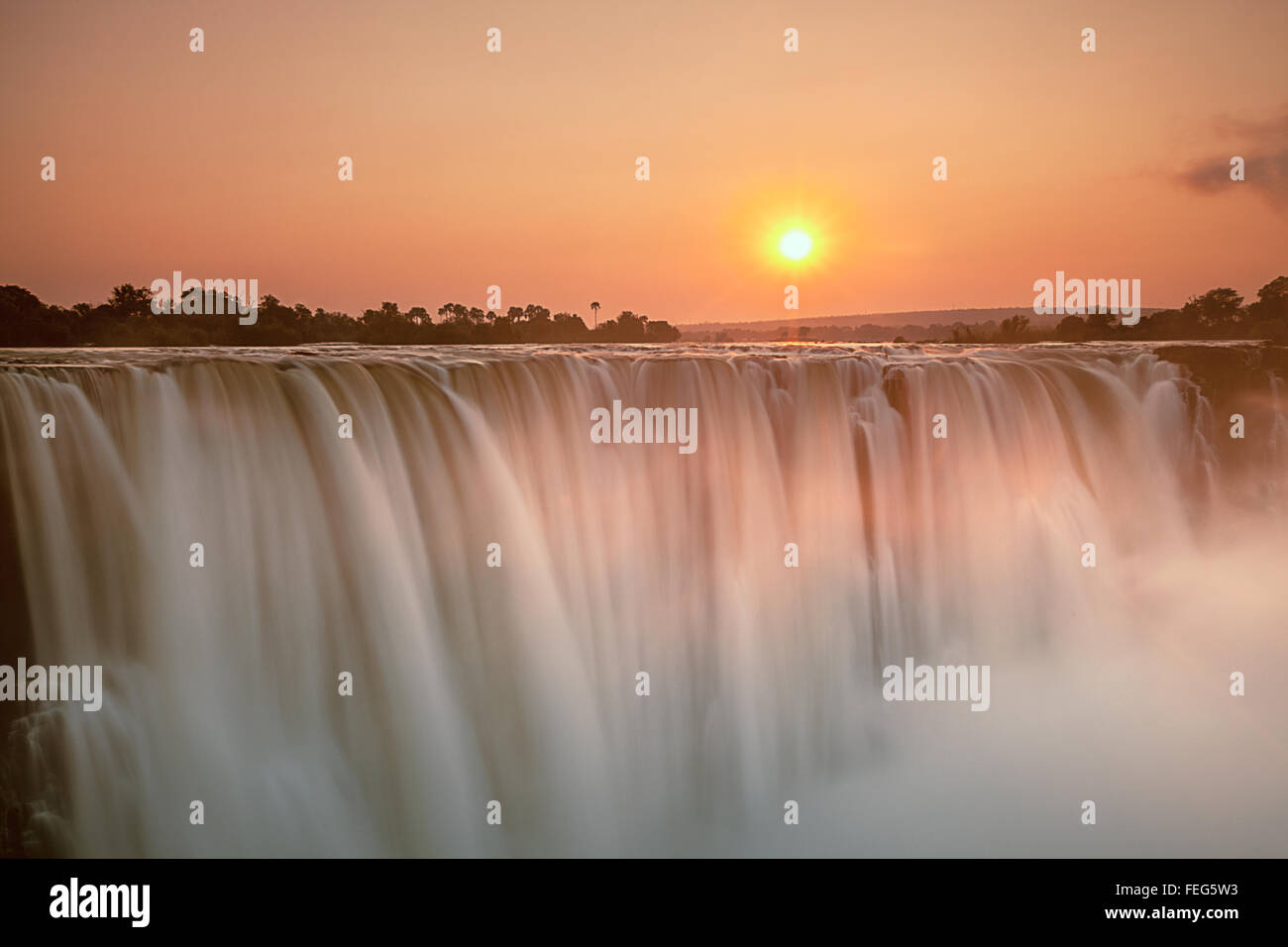 Victoria Falls at sunrise - Stock Image