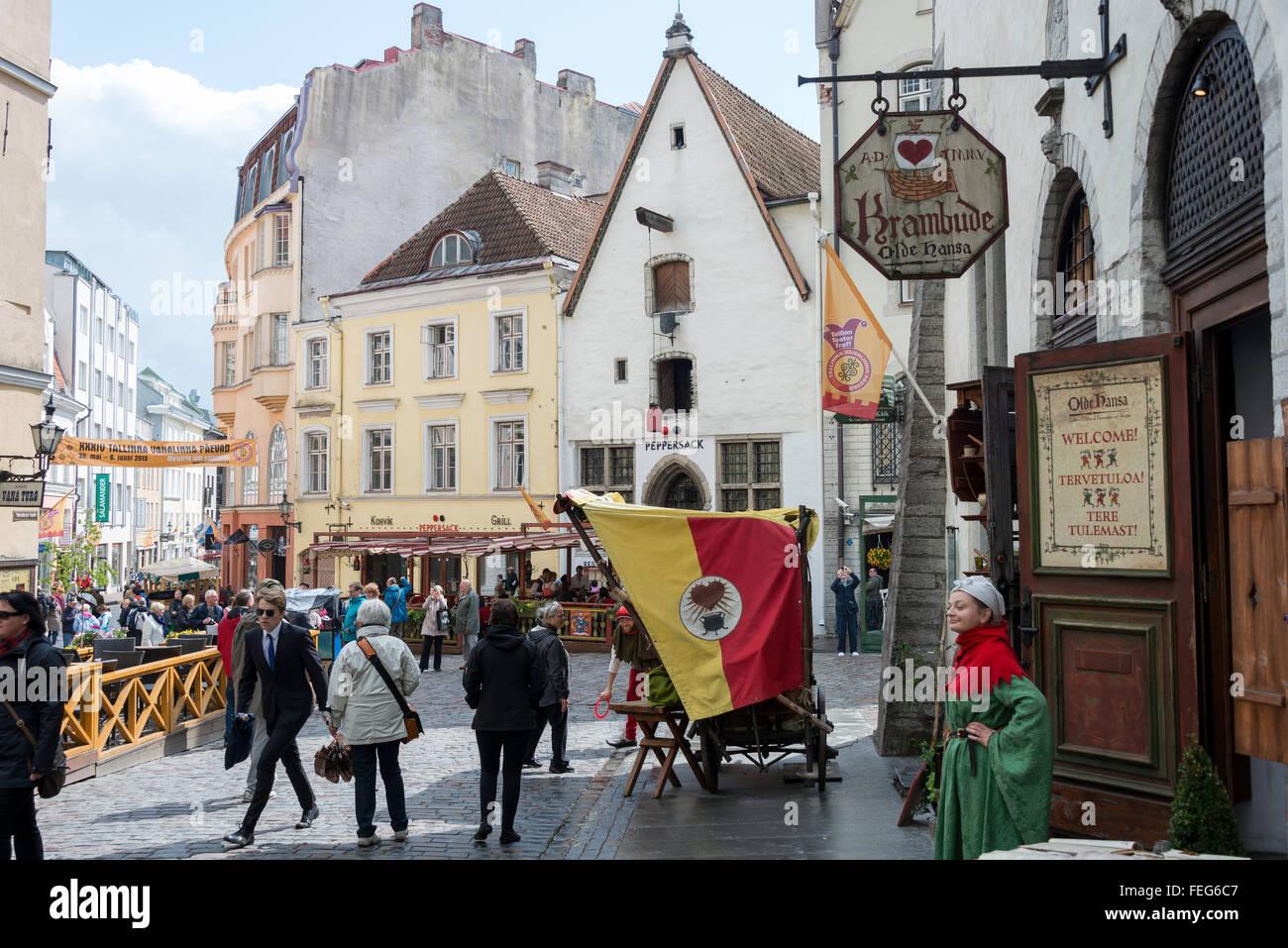 Olde Hansa Medieval Restaurant, Old Town, Tallinn, Harju County, Republic of Estonia - Stock Image