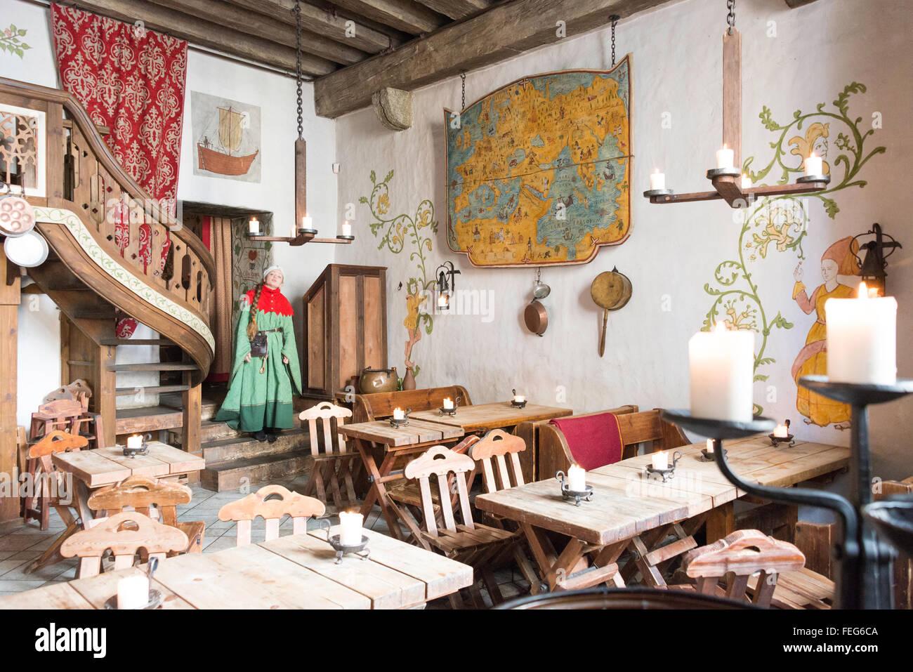Interior of Olde Hansa Medieval Restaurant, Old Town, Tallinn, Harju County, Republic of Estonia - Stock Image