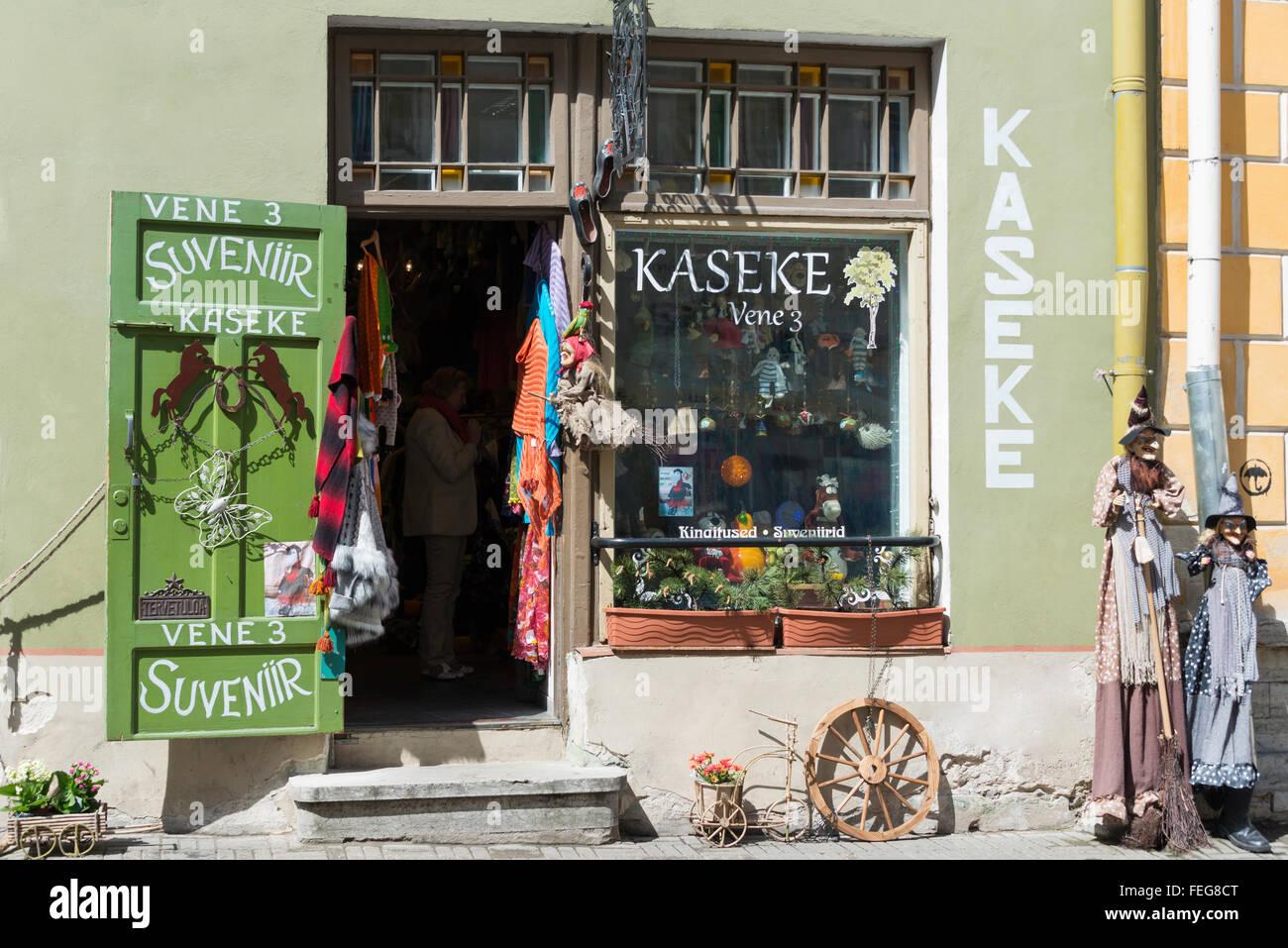 Kaseke Vene 3 Souvenir Shop, Vene, Old Town, Tallinn, Harju County, Republic of Estonia Stock Photo