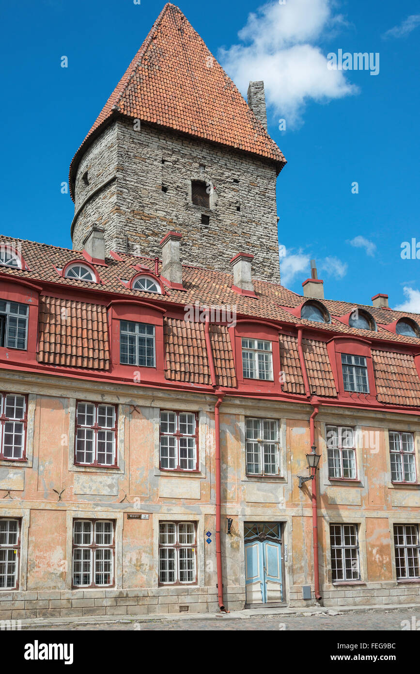Period building and medieval tower, Kooli, Old Town, Tallinn, Harju County, Republic of Estonia. - Stock Image