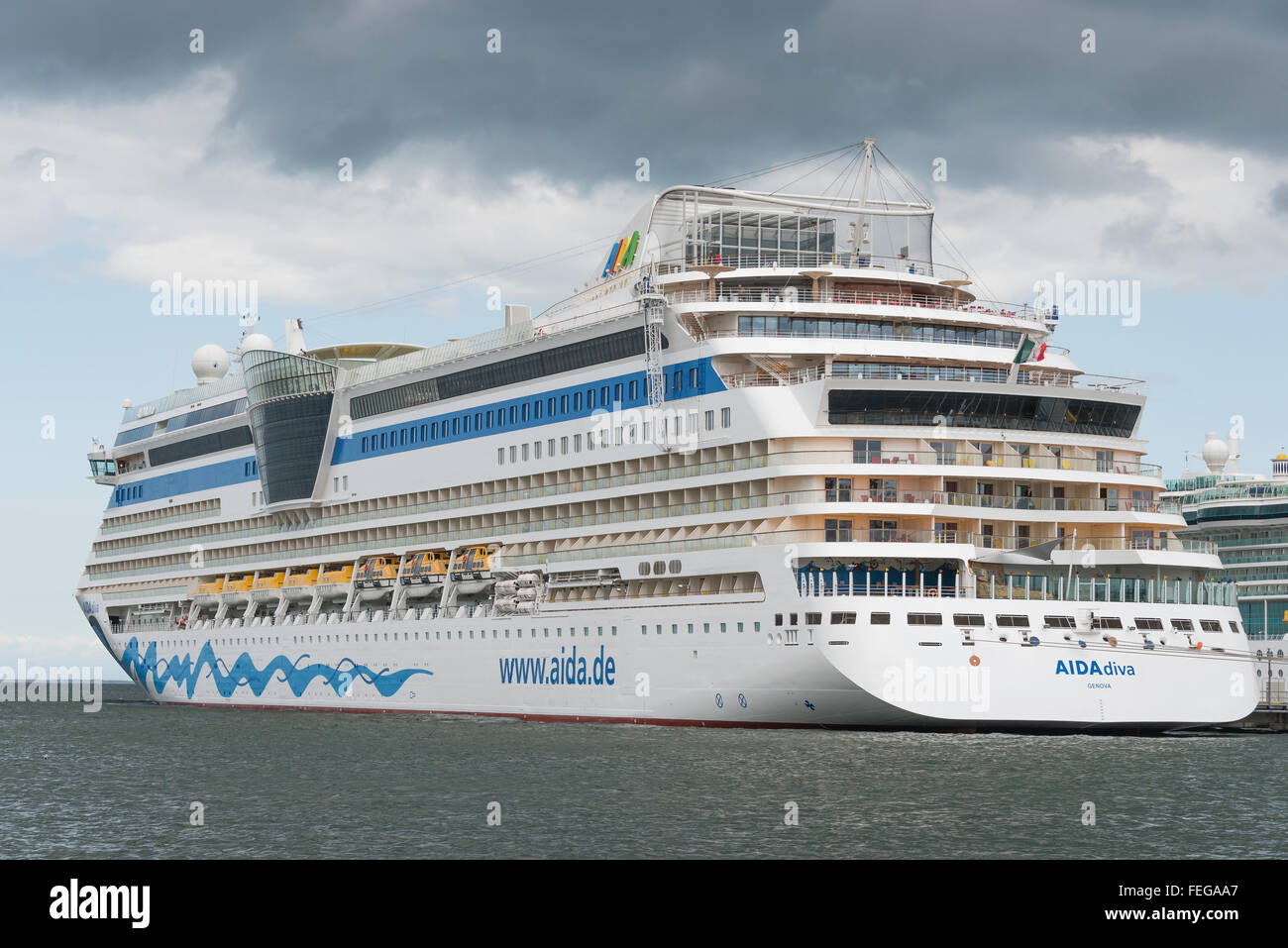 AIDA Diva cruise ship, Port of Tallinn, Tallinn, Harju County, Republic of Estonia - Stock Image