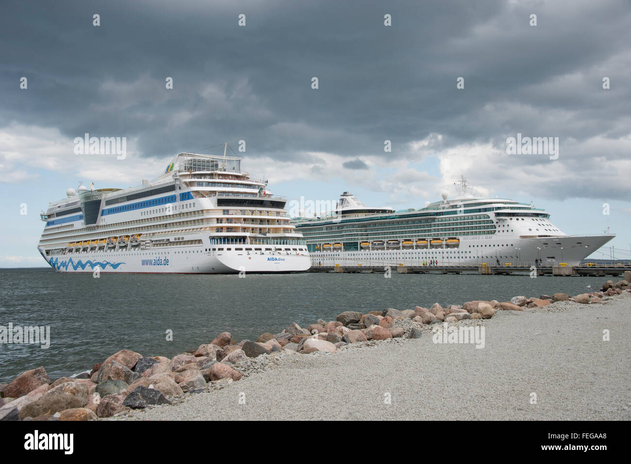 AIDA Diva & Royal Caribbean Brilliance of the Seas, cruise ship, Port of Tallinn, Tallinn, Harju County, Republic Stock Photo