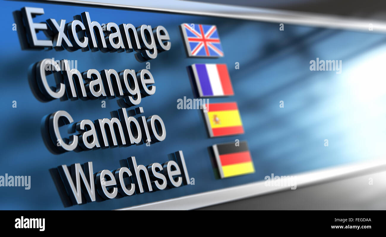 Cambio, Change, Exchange and Wechsel written on a building facade. Concept of currencies exchanges - Stock Image