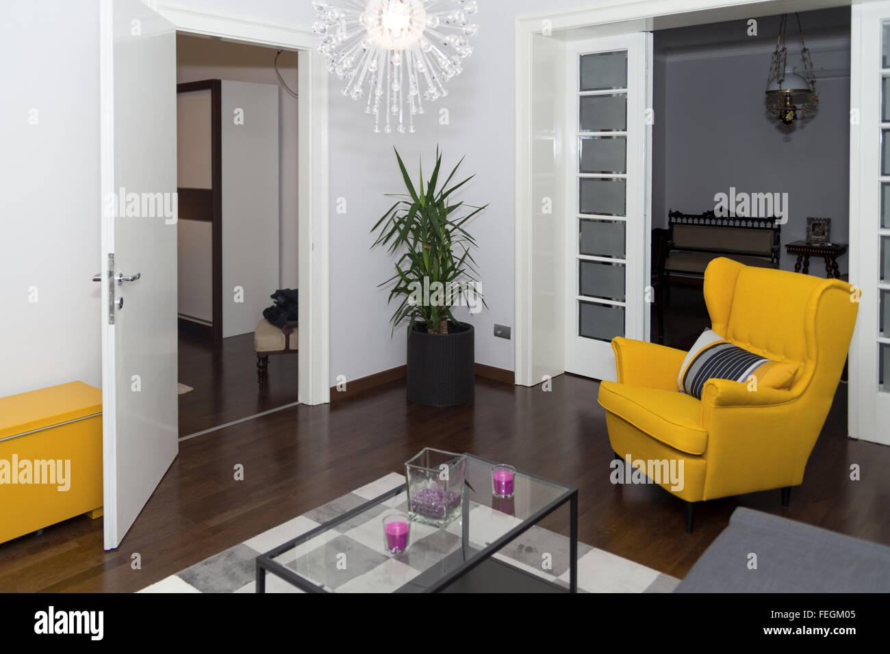 Modern Hotel Apartment With 3d Living Room And Bedroom Interior Stock Photo Alamy