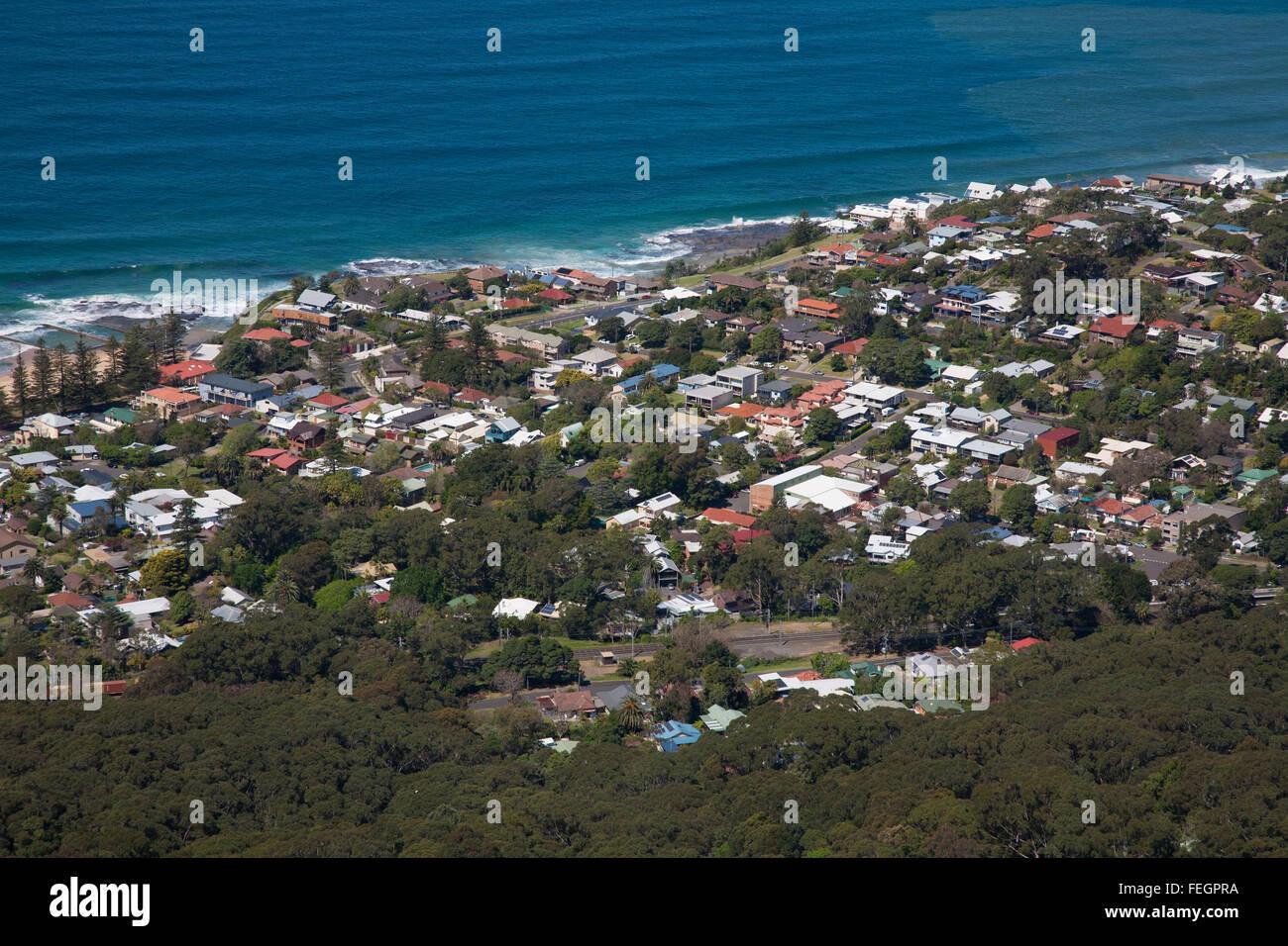 Urban coastal development around the Wollongong region NSW Australia - Stock Image