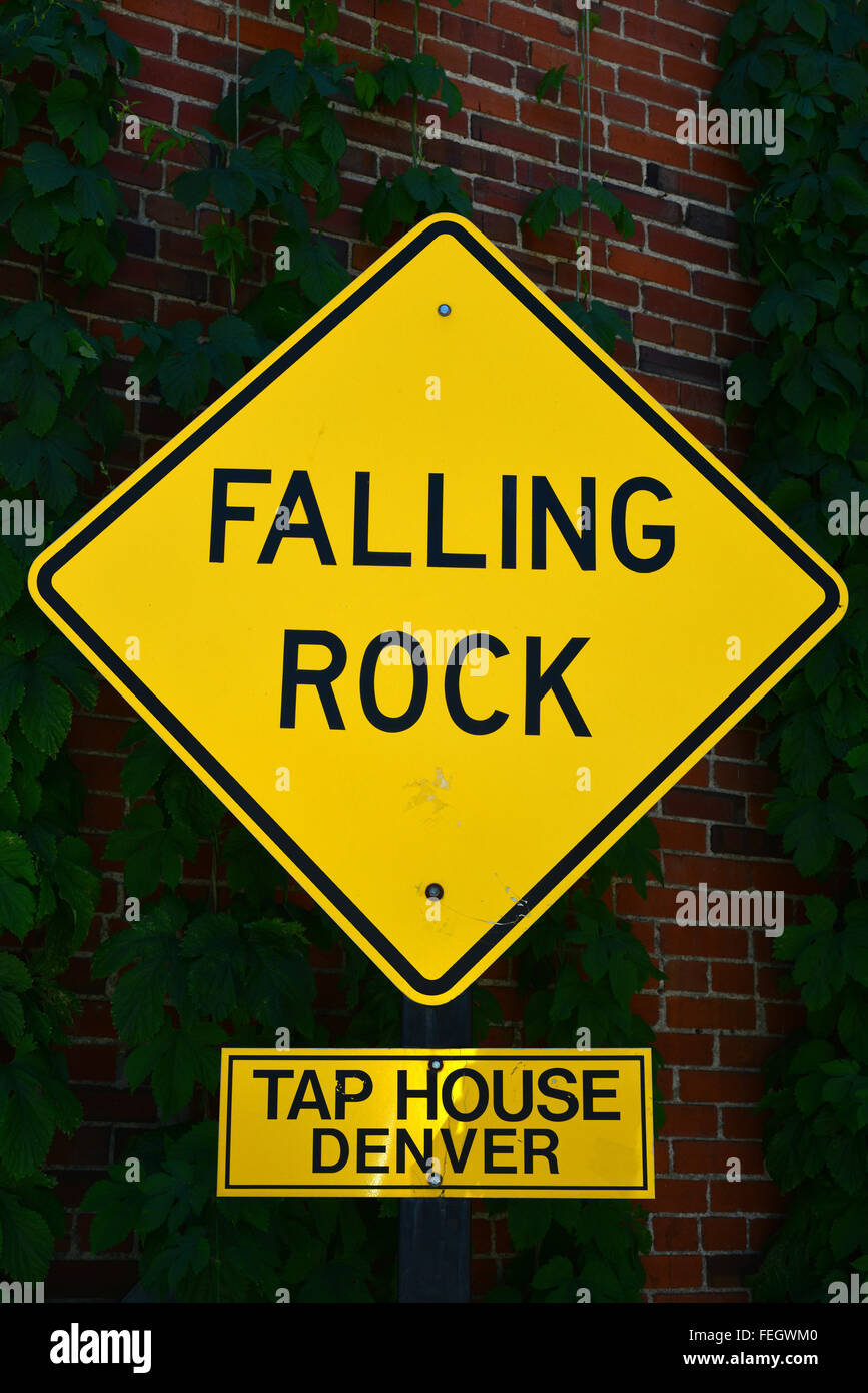 Falling Rock Tap House bar in Downtown Denver, Colorado, USA on a sunny day in June - Stock Image