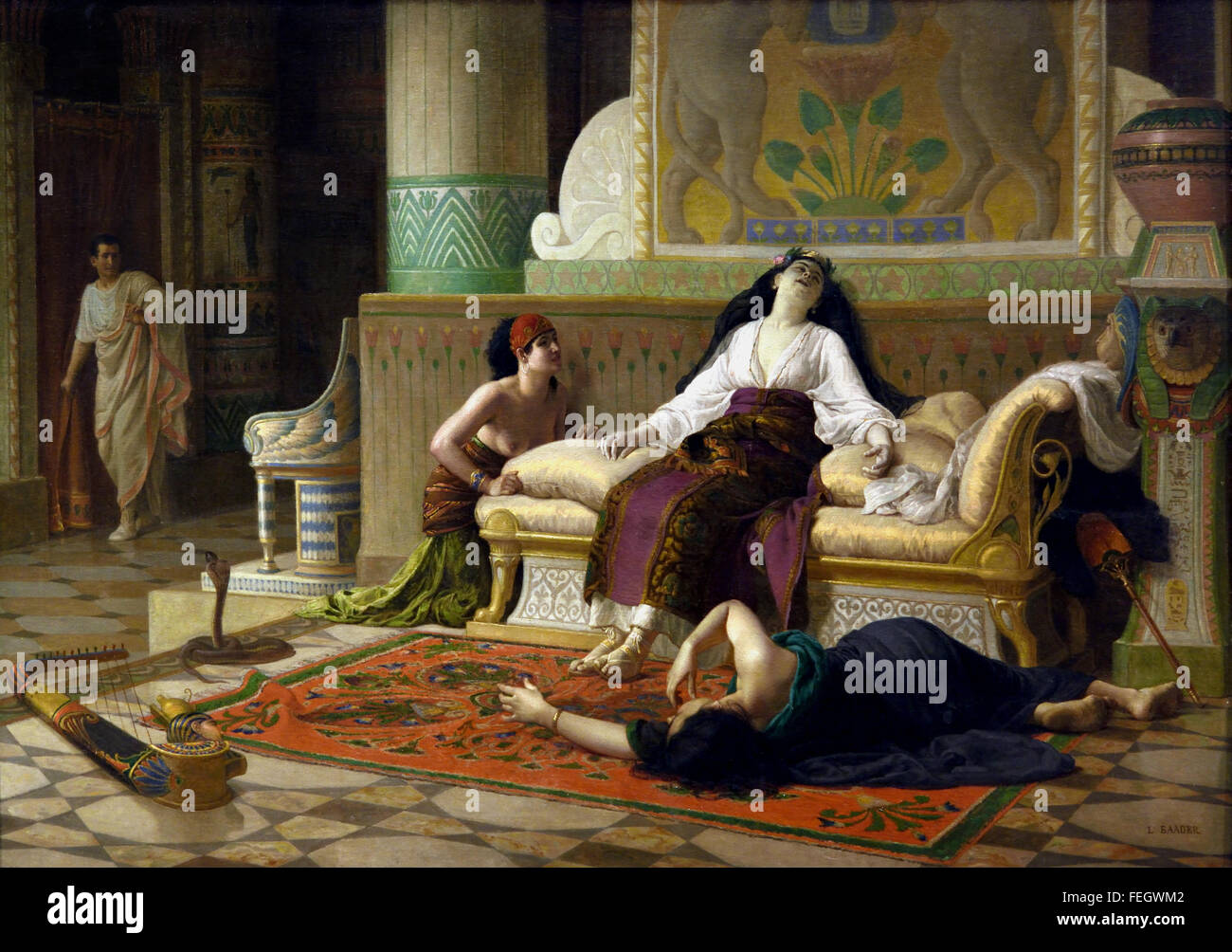 The Death of Cleopatra 1899 Louis Marie Baader 1828 - 1920 France French ( Cleopatra VII Philopator 69 –  30 BC - Stock Image