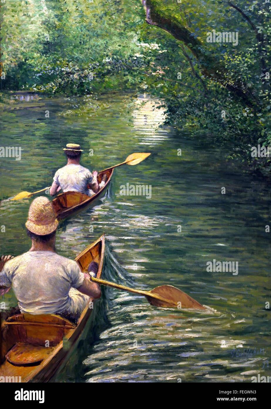 Les Périssoires. Célèbreby  - The canoeists Popular. Gustave Caillebotte (1848-1894)  France French - Stock Image