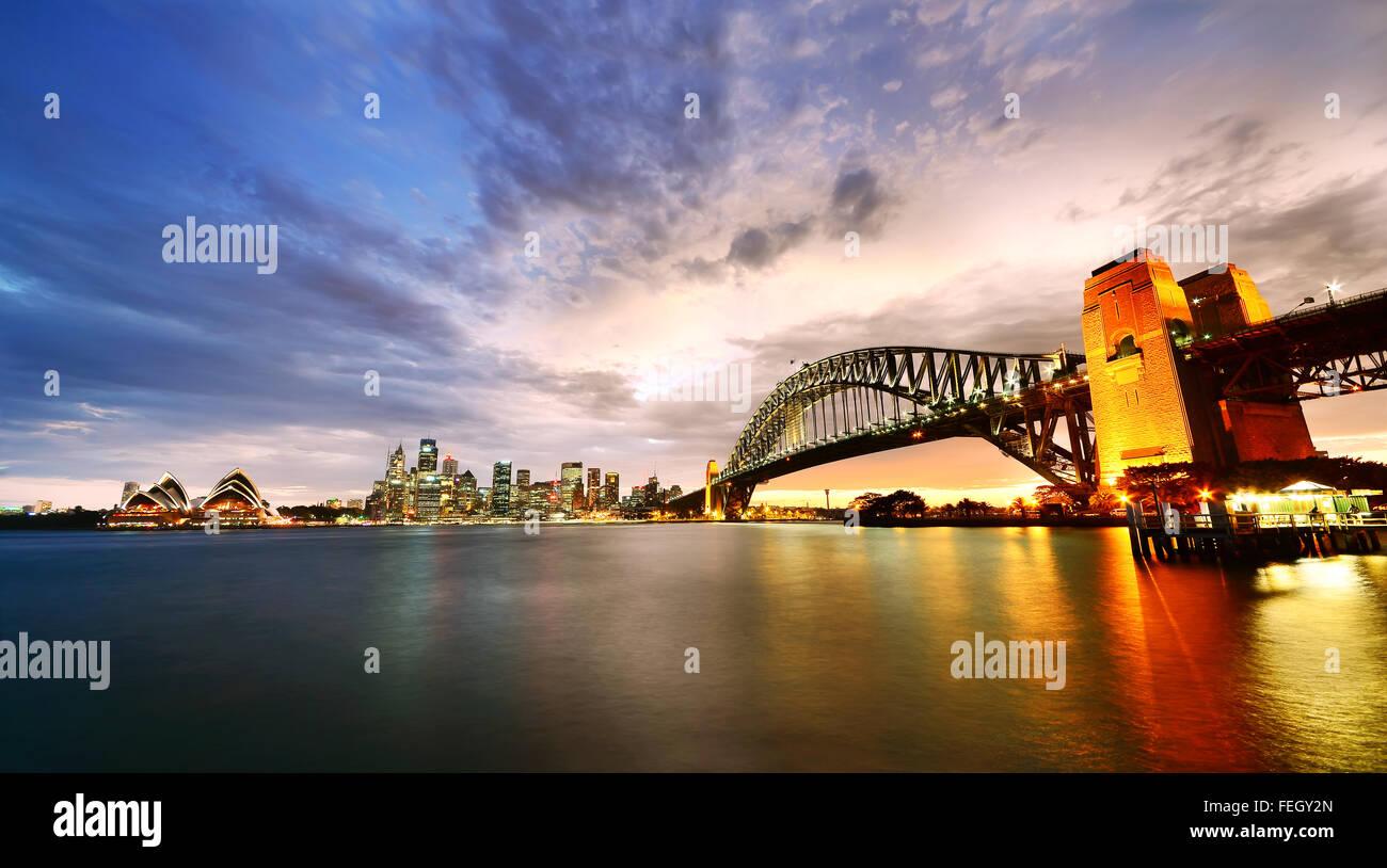 Sydney Harbor Panorama at twilight - Stock Image